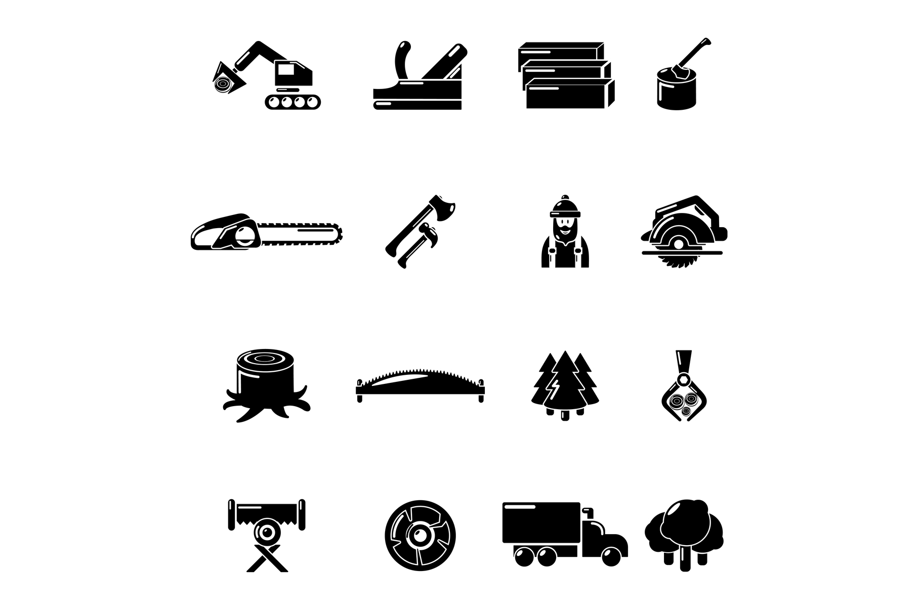 Timber industry icons set, simple style example image 1