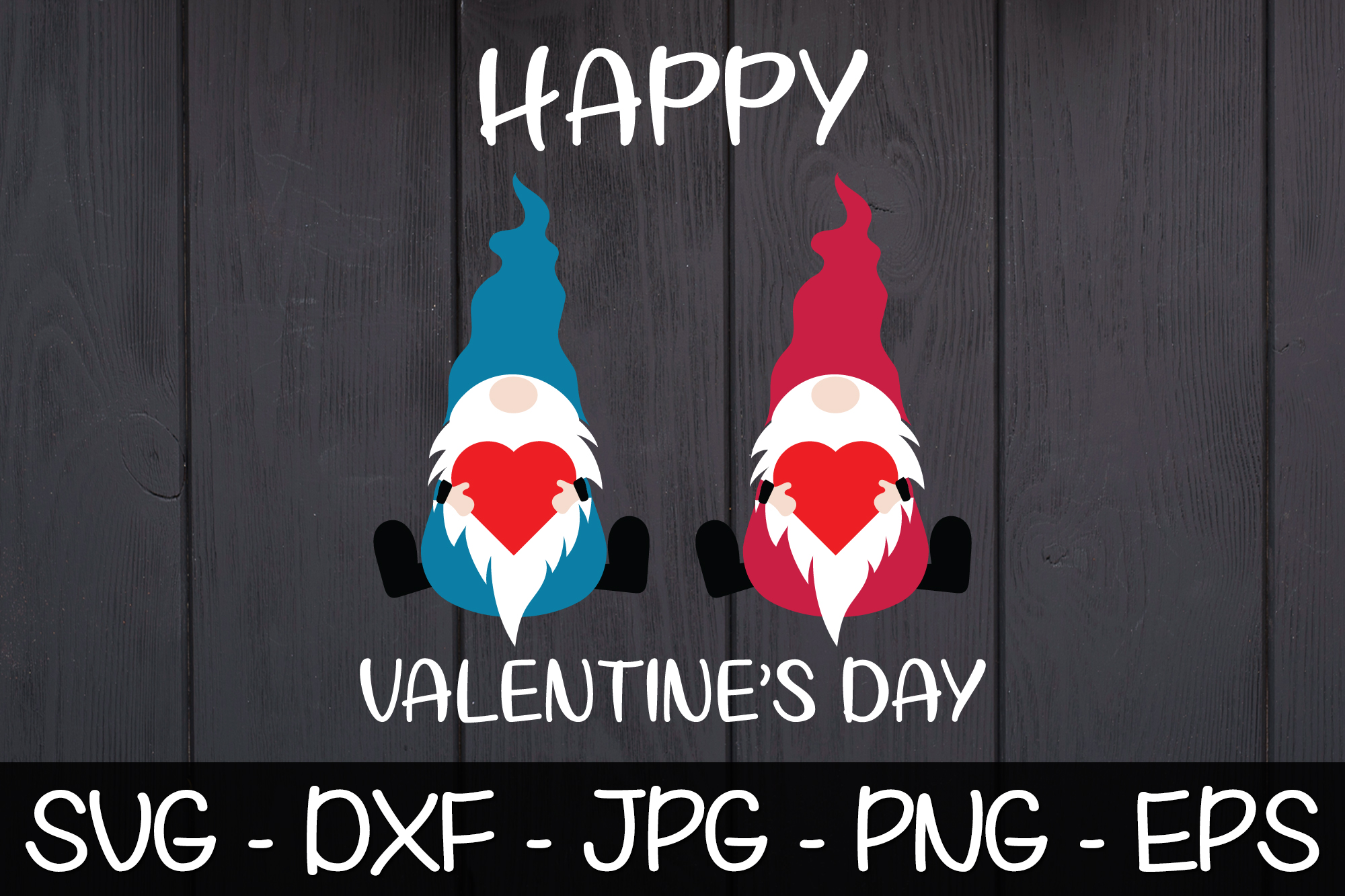 Happy Valentine's Day Gnomes SVG EPS PNG Valentine Gnomes example image 1