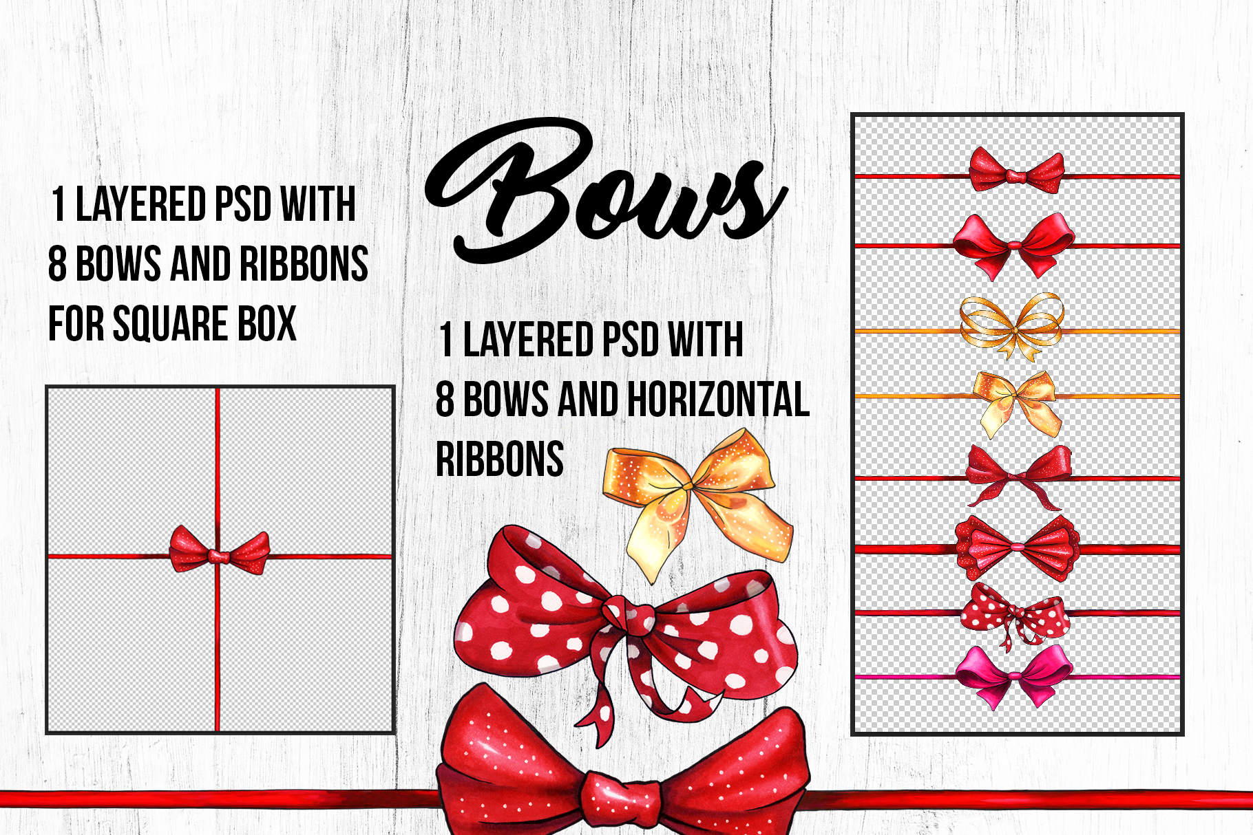 Bows and Ribbons Marker Clipart Collection example image 8