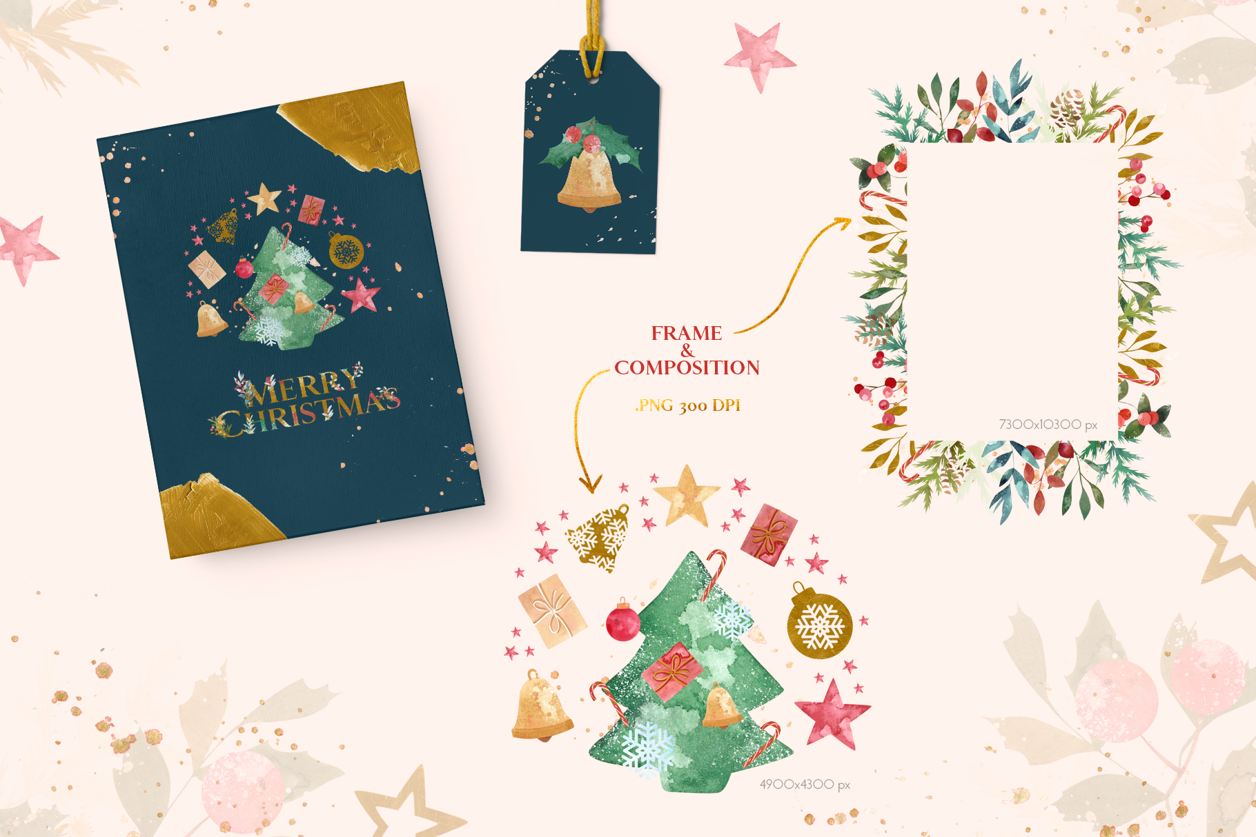 Merry Christmas Watercolor Design Set example image 4
