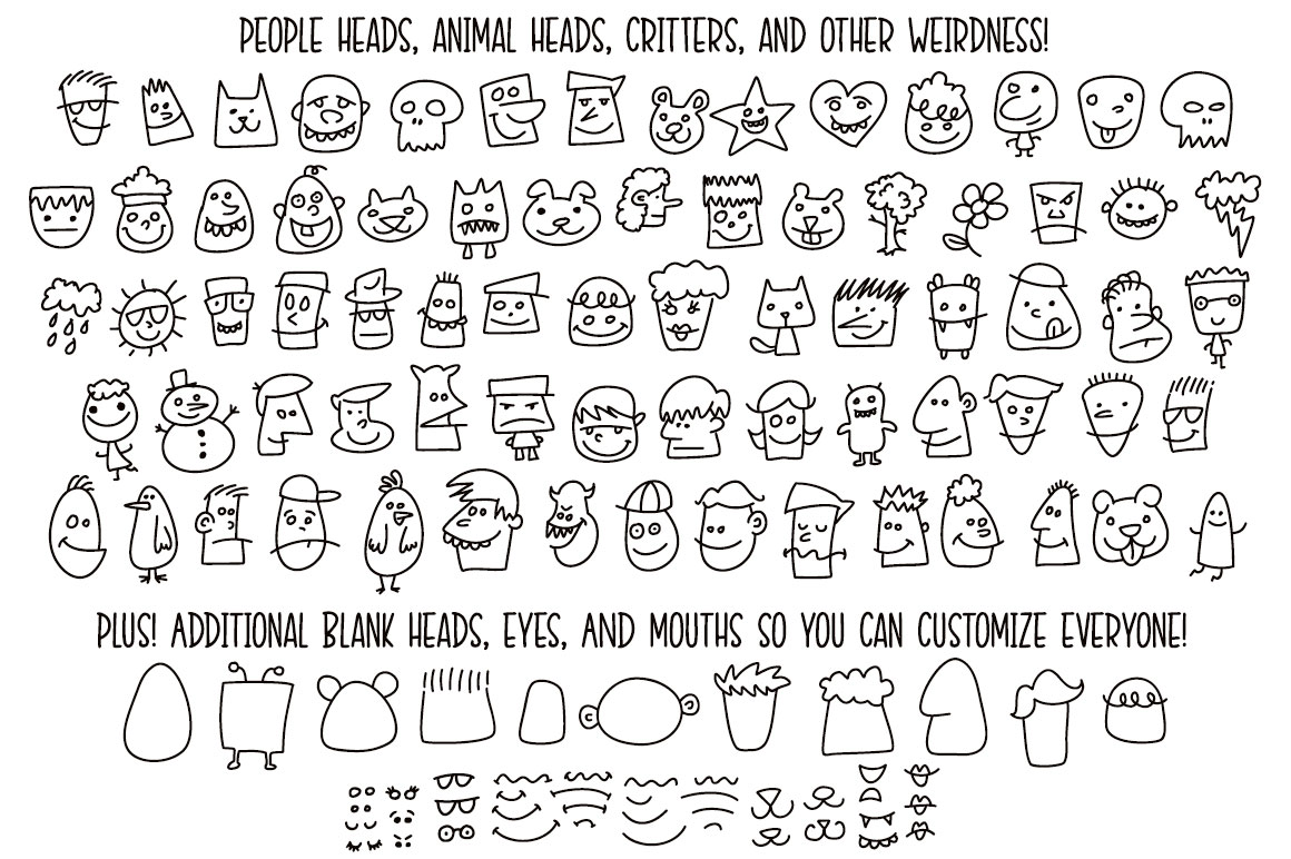 Kookyheads - a dingbat doodle font! example image 2