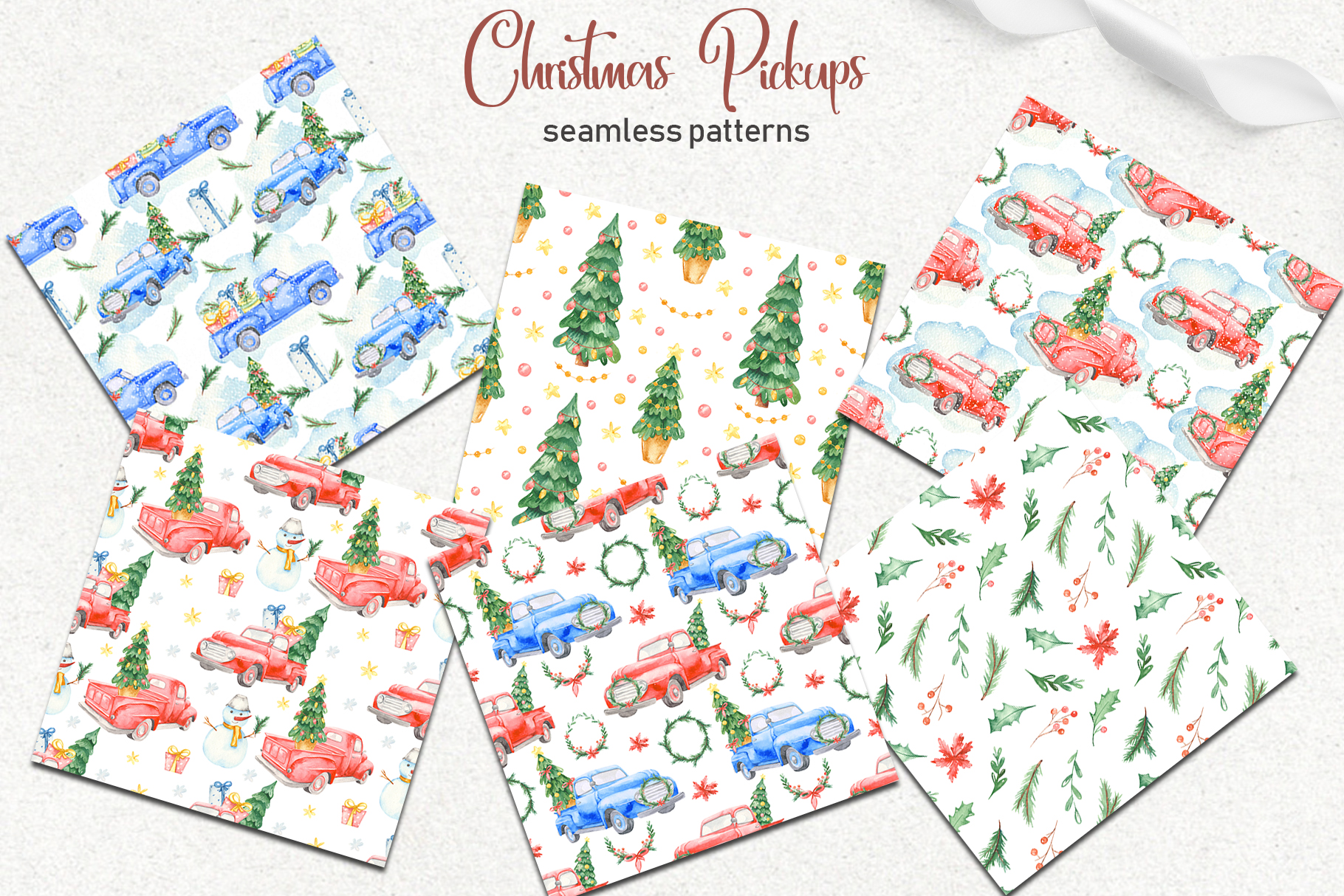 Christmas pickup Watercolor clipart and Christmas elements example image 6