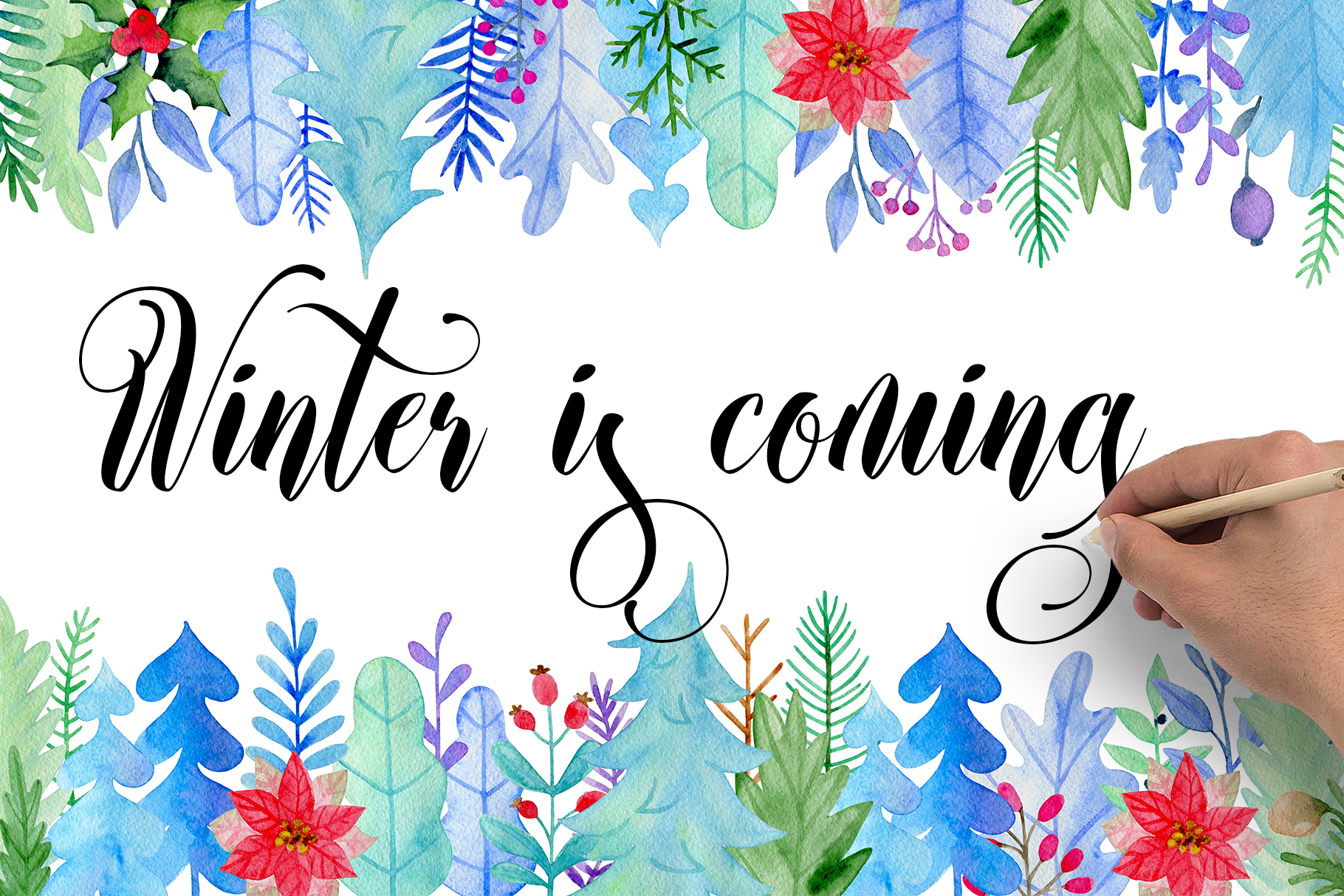Winter Watercolor Design Kit example image 1