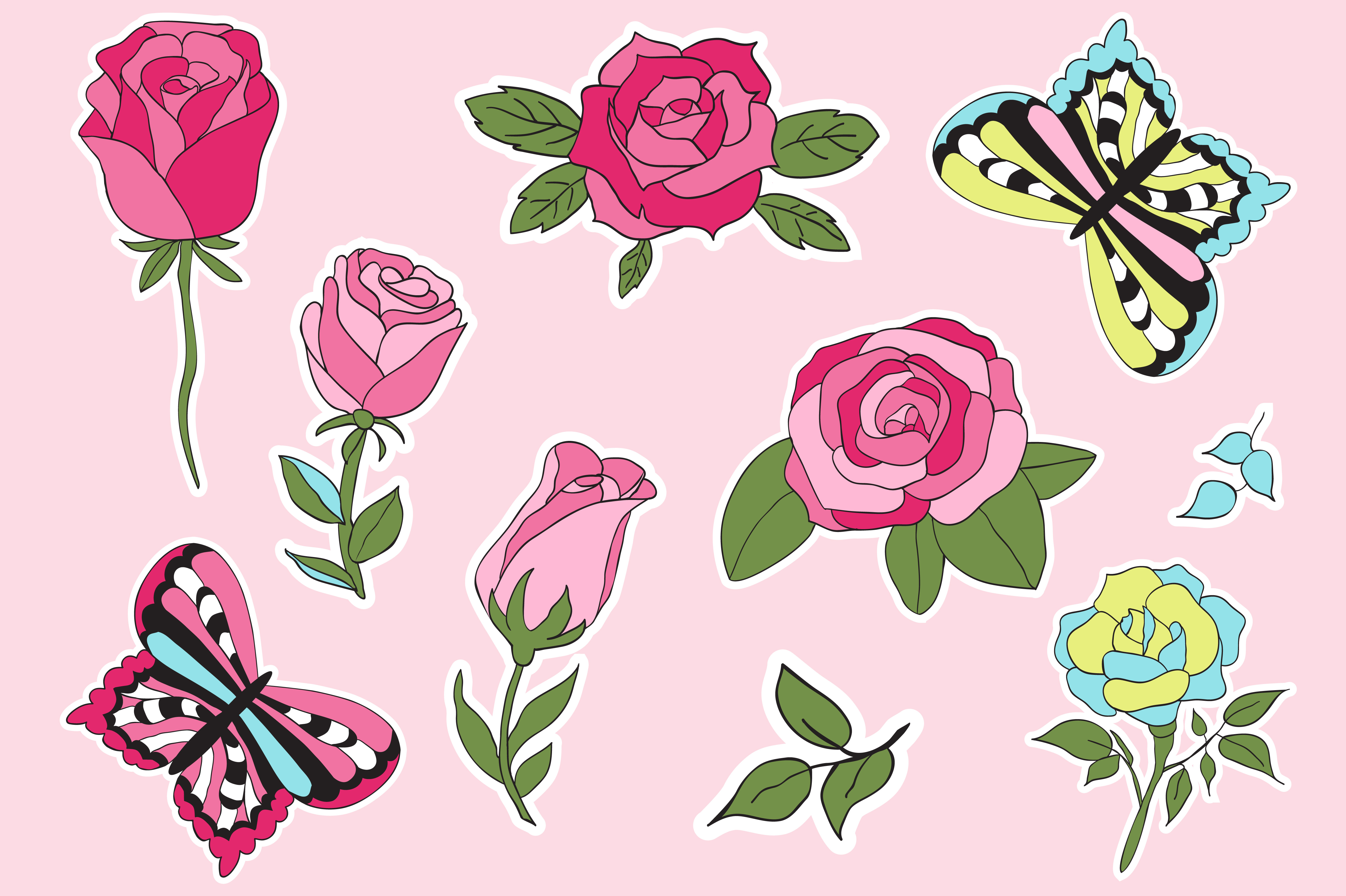 Roses and Butterflies Stickers example image 3
