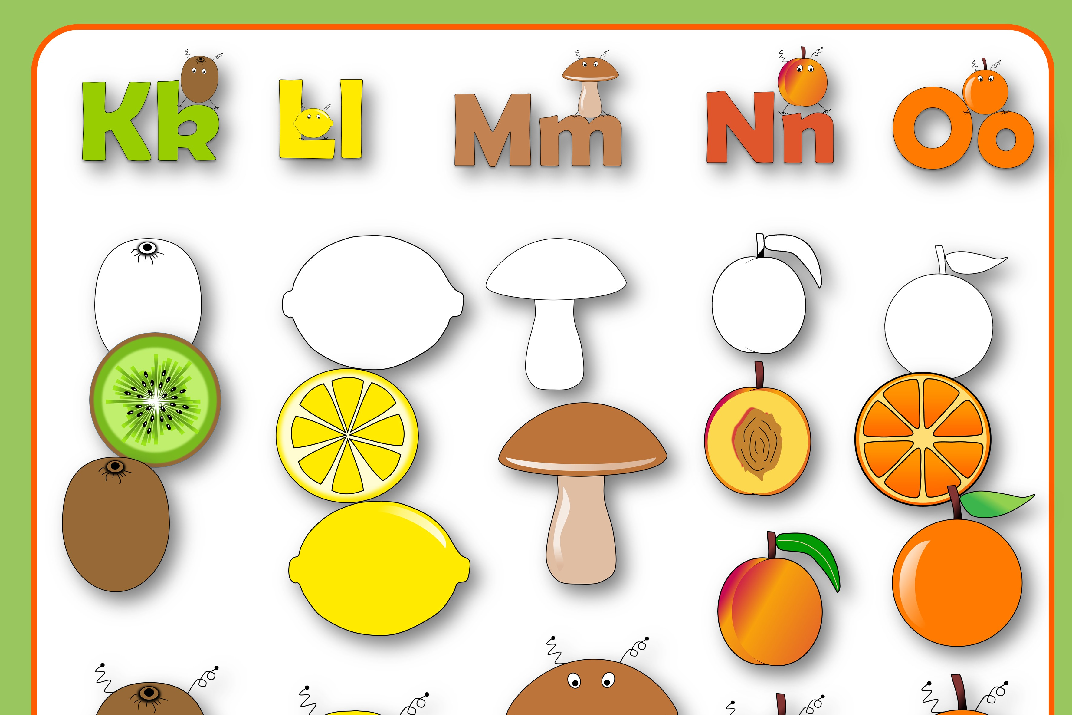 Alphabet of Fruits and Vegetables with Monsters example image 4