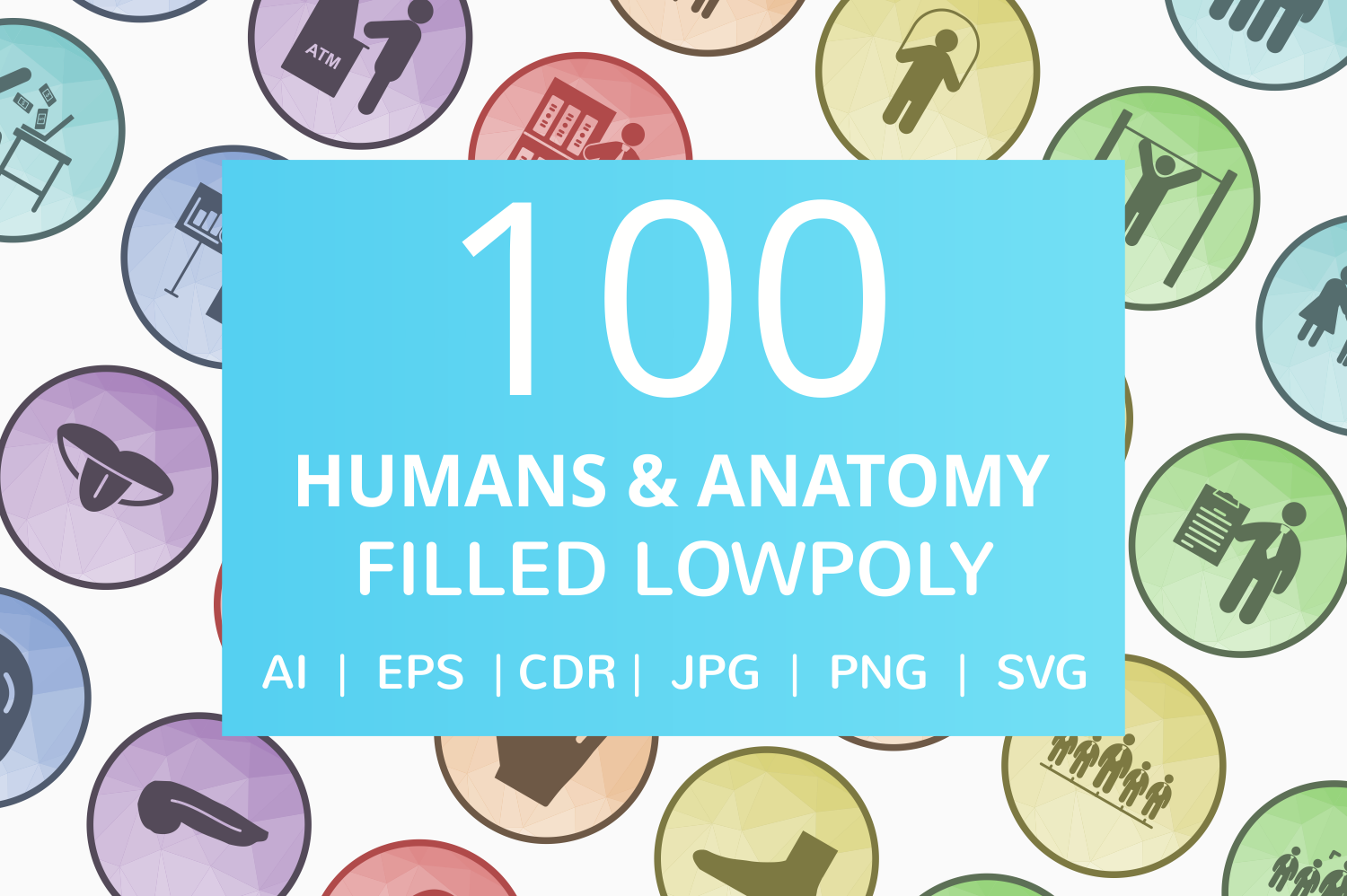 100 Humans & Anatomy Filled Low Poly Icons example image 1