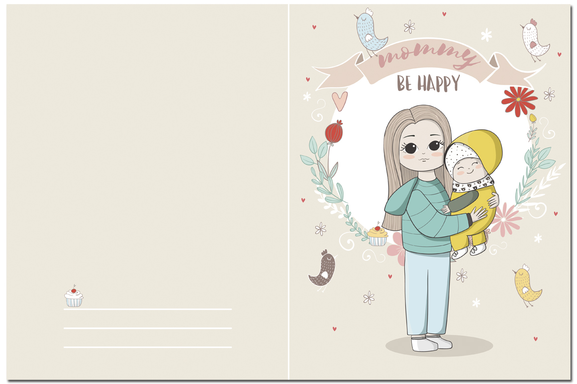 I love mom. Vector illustrations example image 4