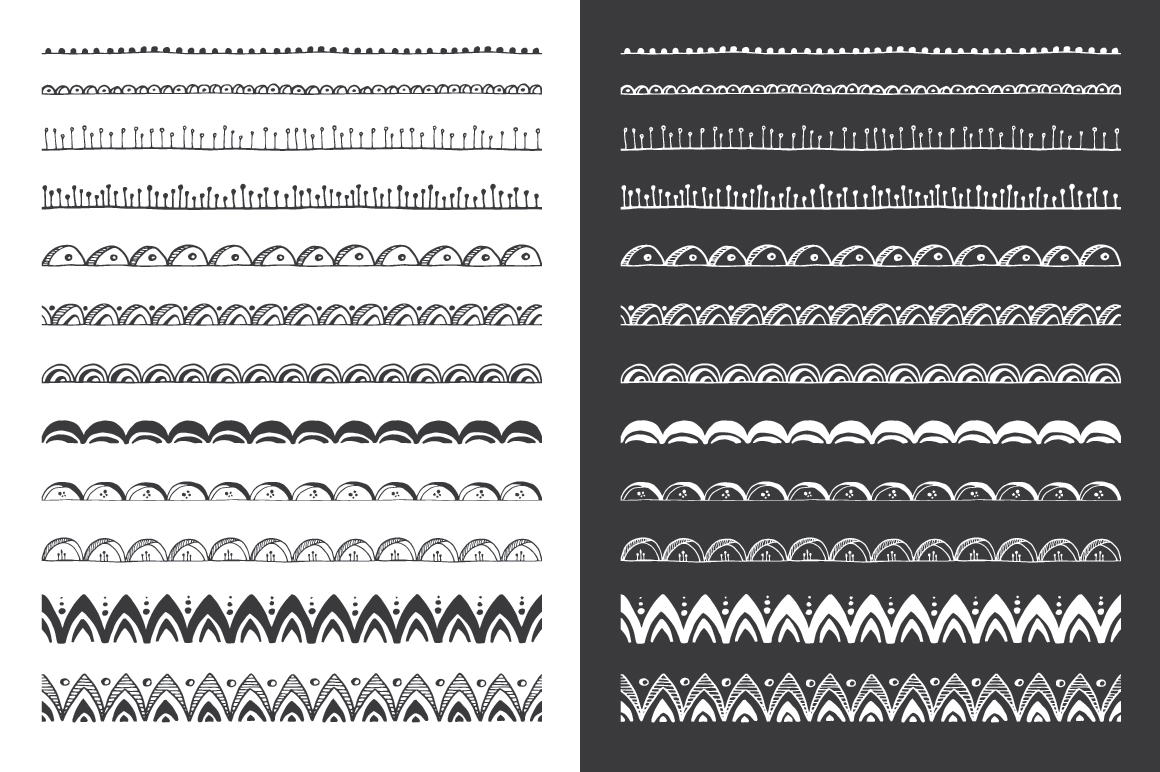Hand Drawn Pattern Brushes Bundle - Volumes 01, 02 & 03 example image 6