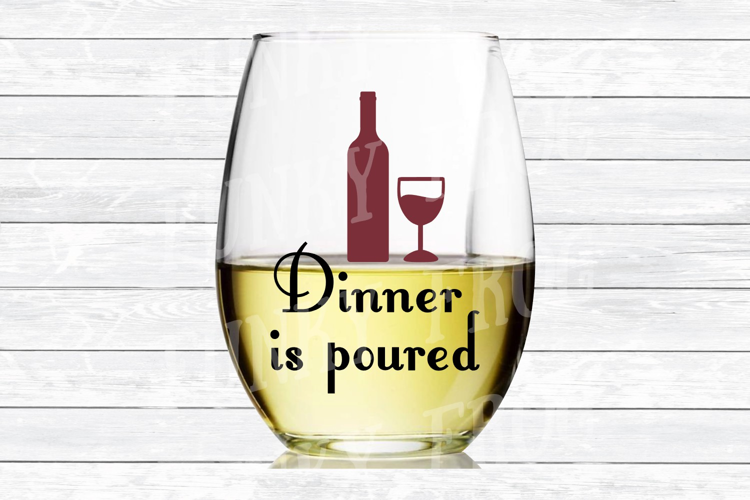 Dinner Is Poured - Wine SVG Cut File for Crafters example image 3