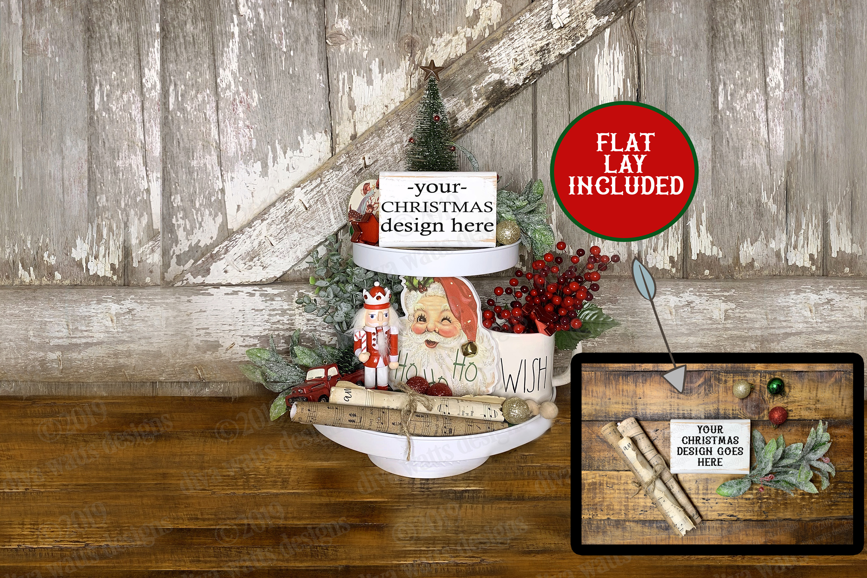 Christmas Tiered Tray Mockup Set with Flat Lay Included example image 1