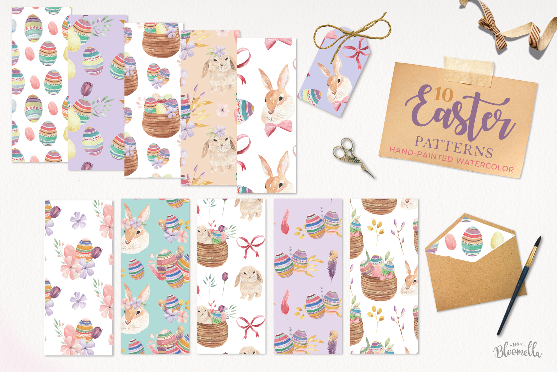 Easter Egg HUGE Bunny Watercolor Floral Spring Clipart Kit example image 3