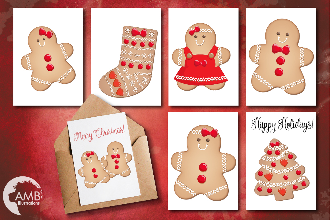 Christmas Cookie Clipart, GRAPHICS, ILLUSTRATIONS AMB-1502 example image 4