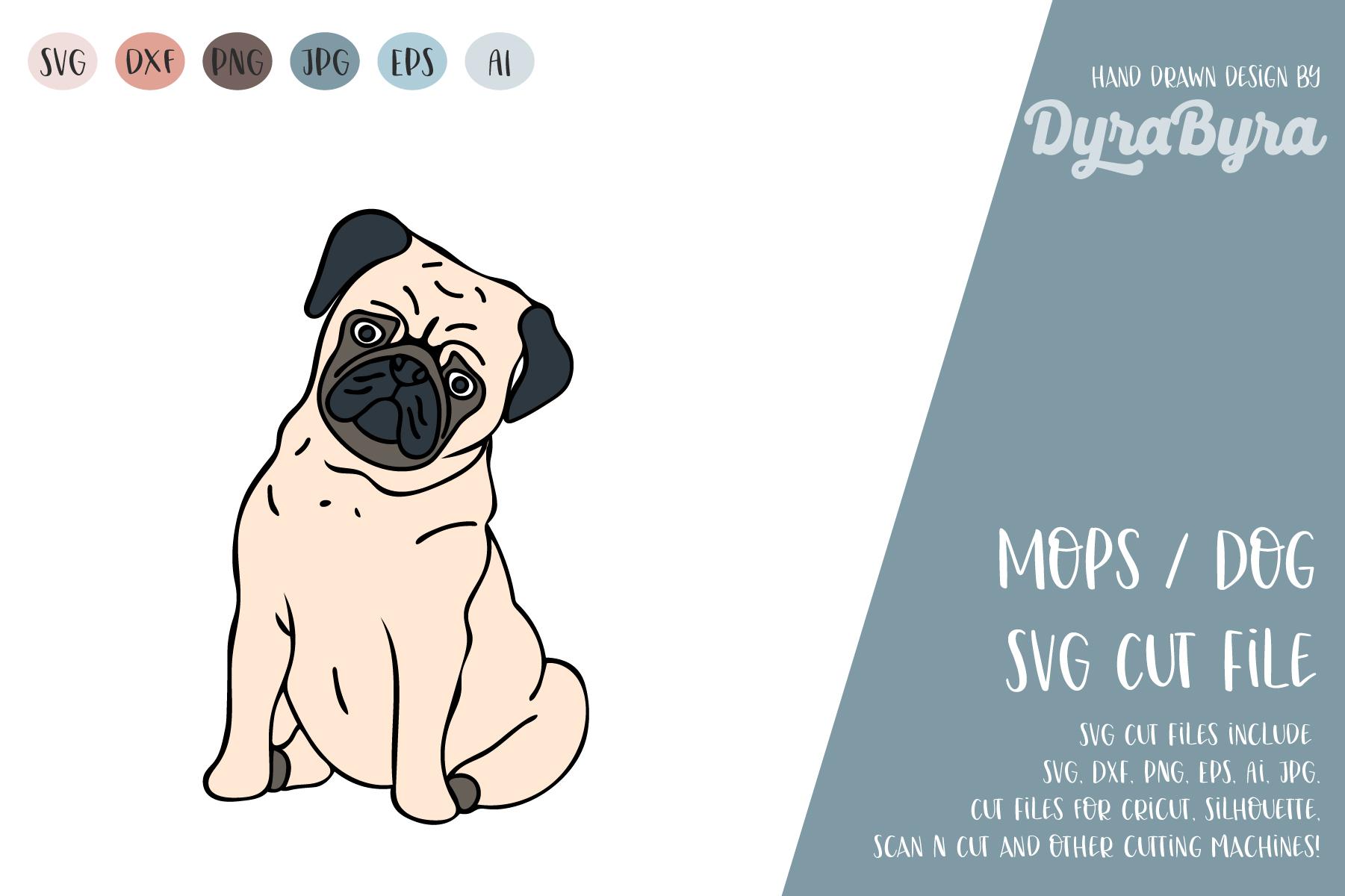 PUG Dog SVG / Mops SVG / Dogs love SVG Vector File example image 2