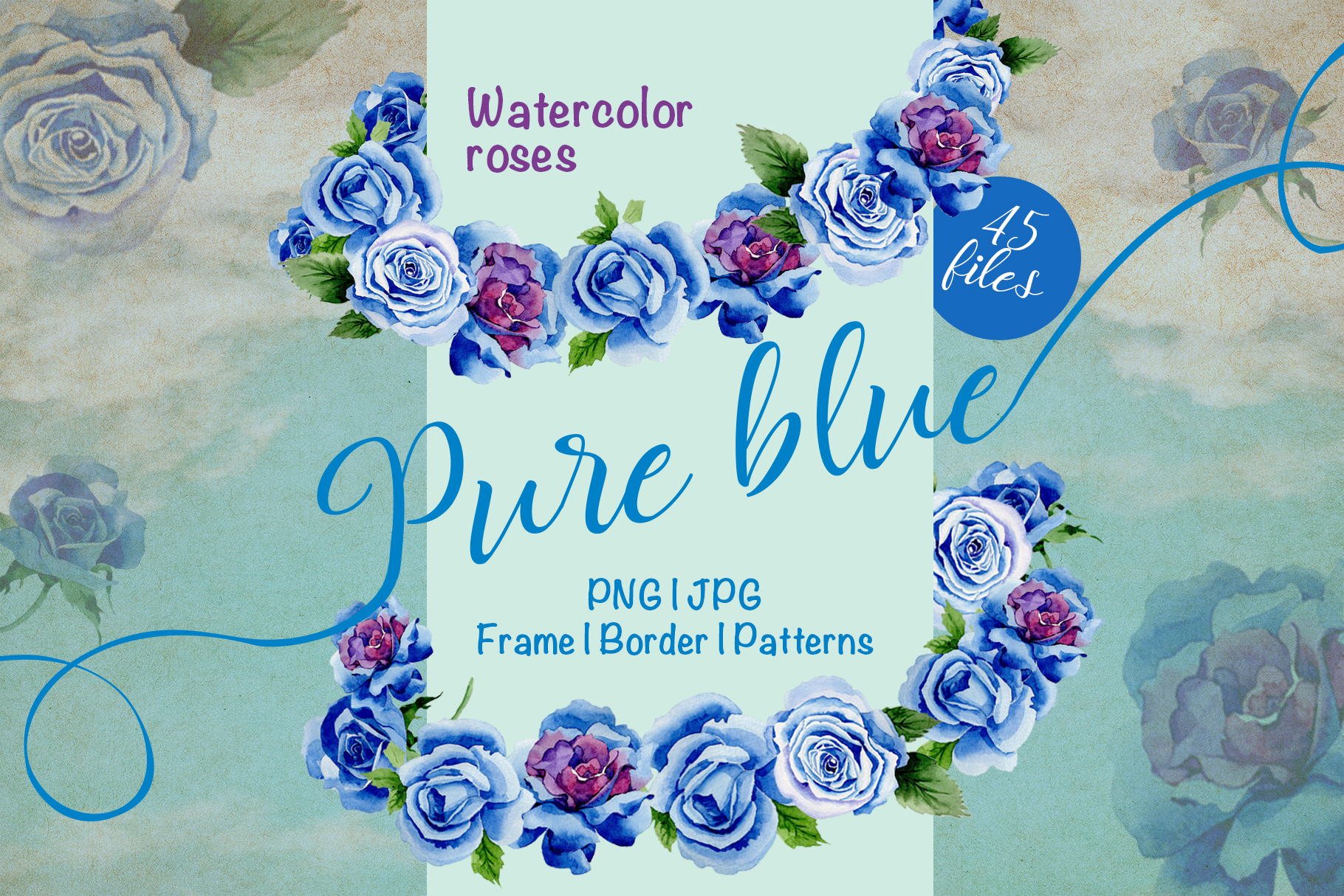 Beautiful blue roses PNG watercolor flower set example image 1