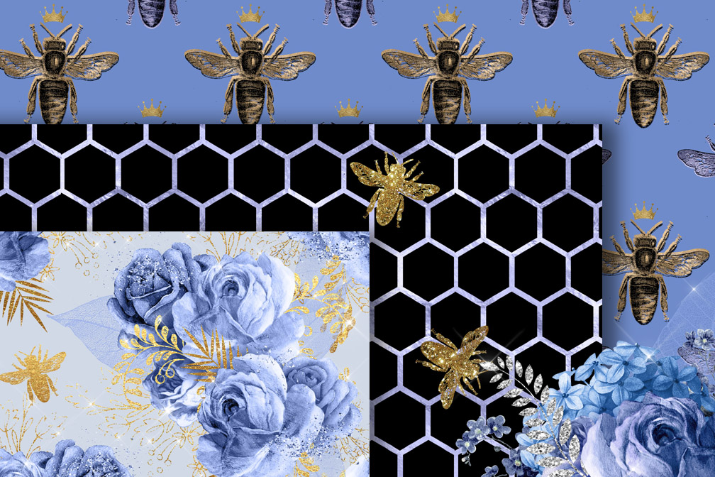 Serenity Bee Seamless Patterns example image 2