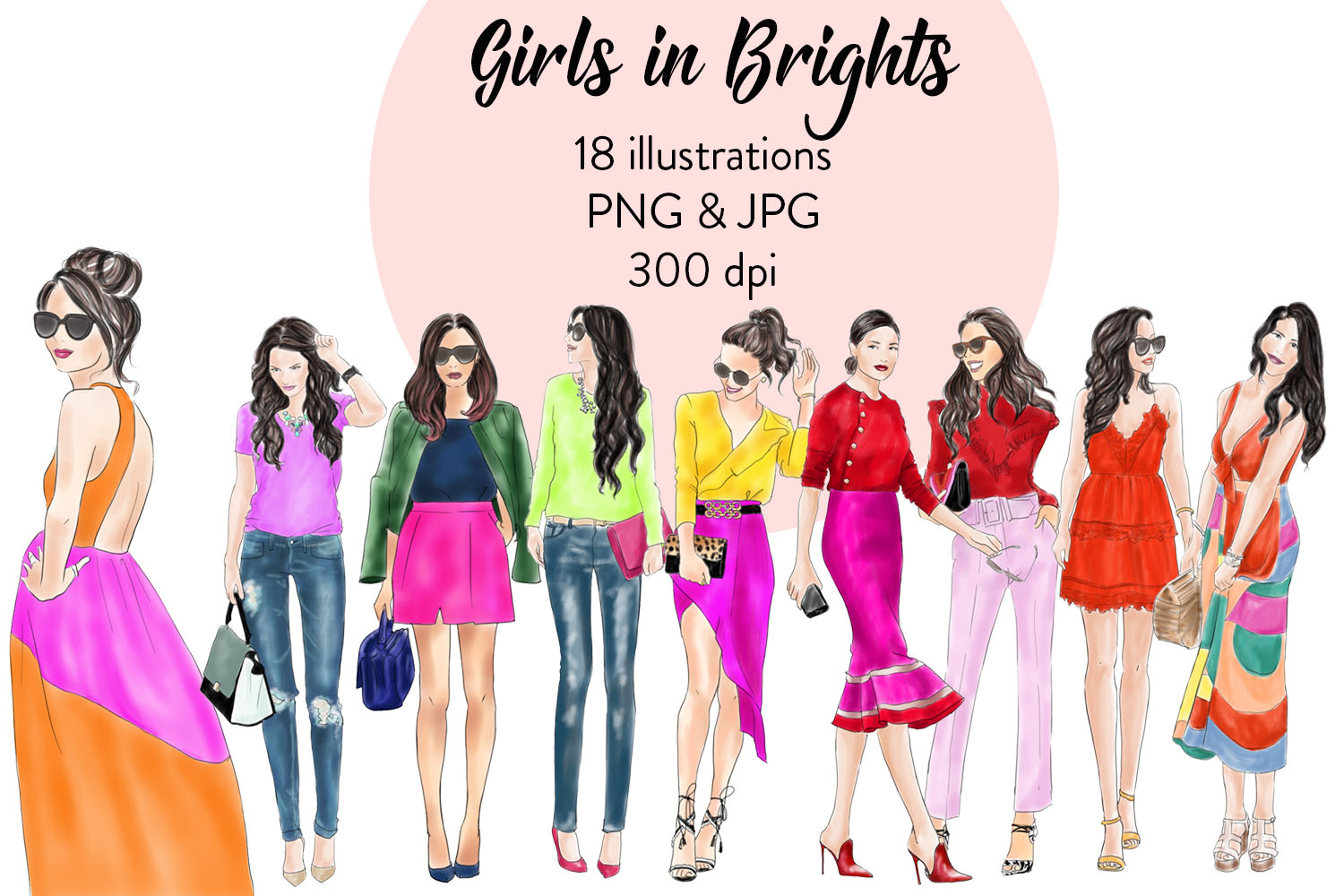 Watercolor clipart - Girls in Brights -  Fashion illustration example image 1