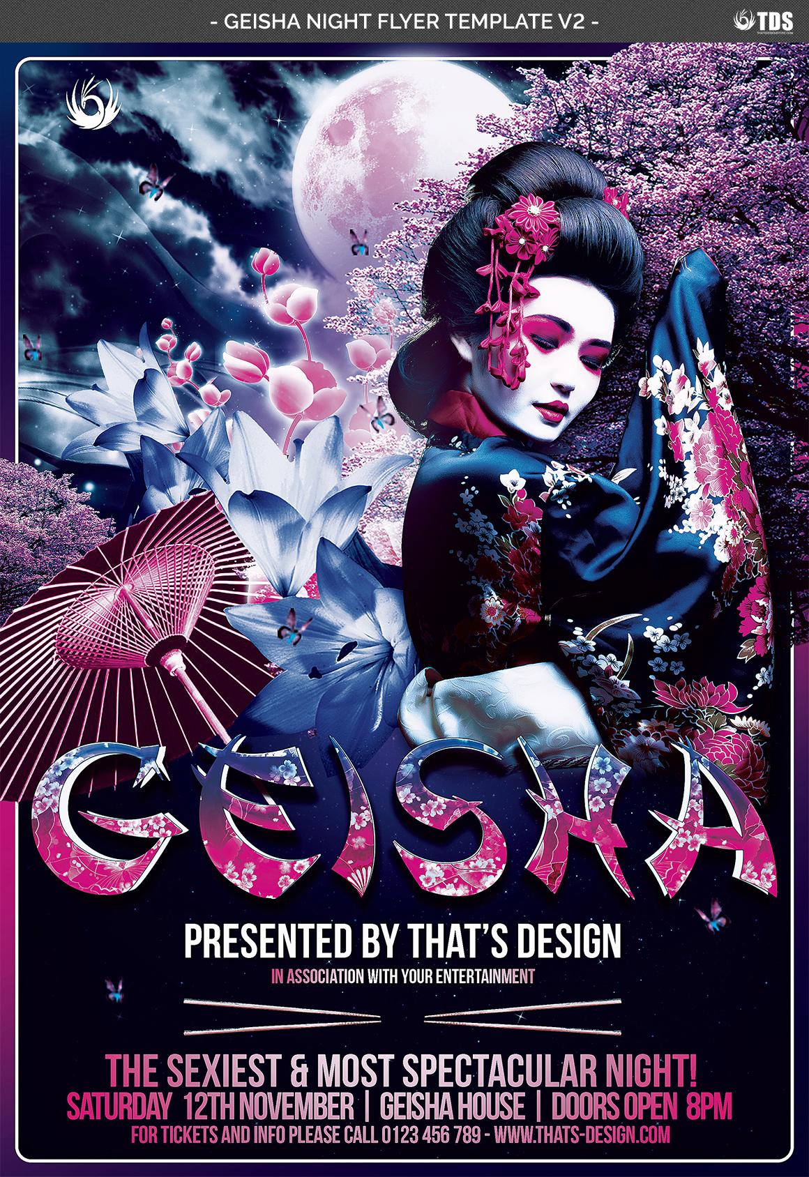 Geisha Night Flyer Template V2 example image 4