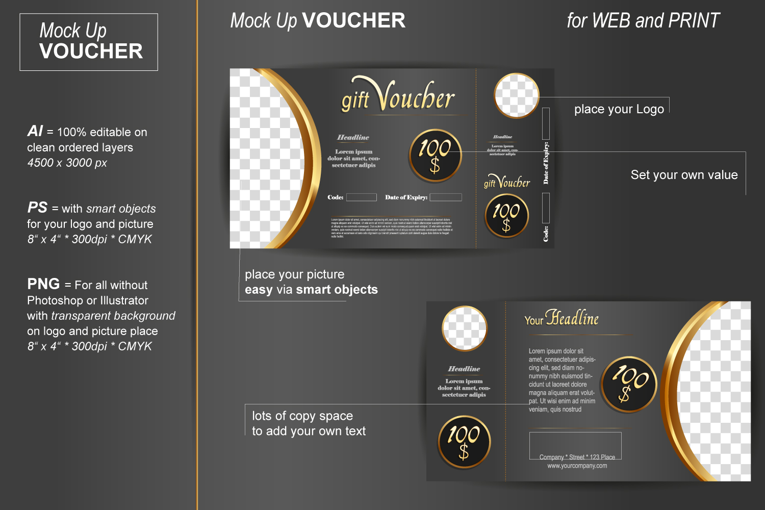 Template - Gift Voucher - Noble Gold example image 2