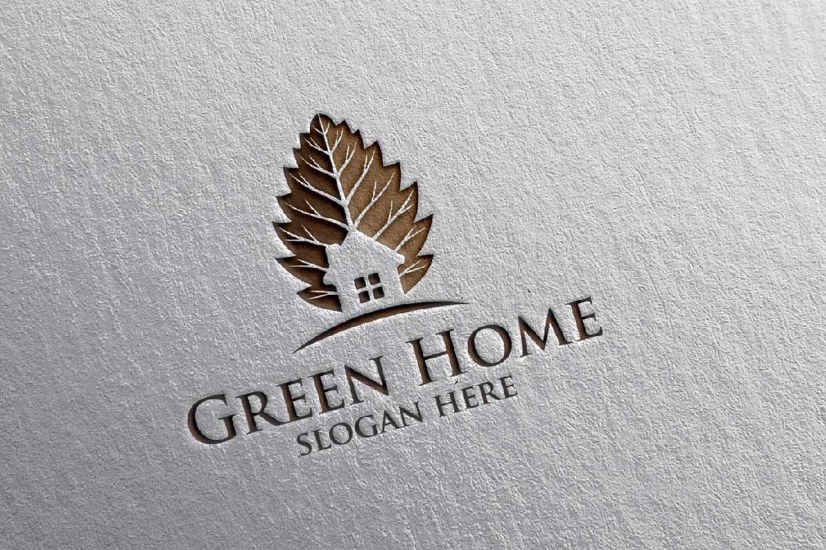 Real estate Logo, Green Home Logo 20 example image 2