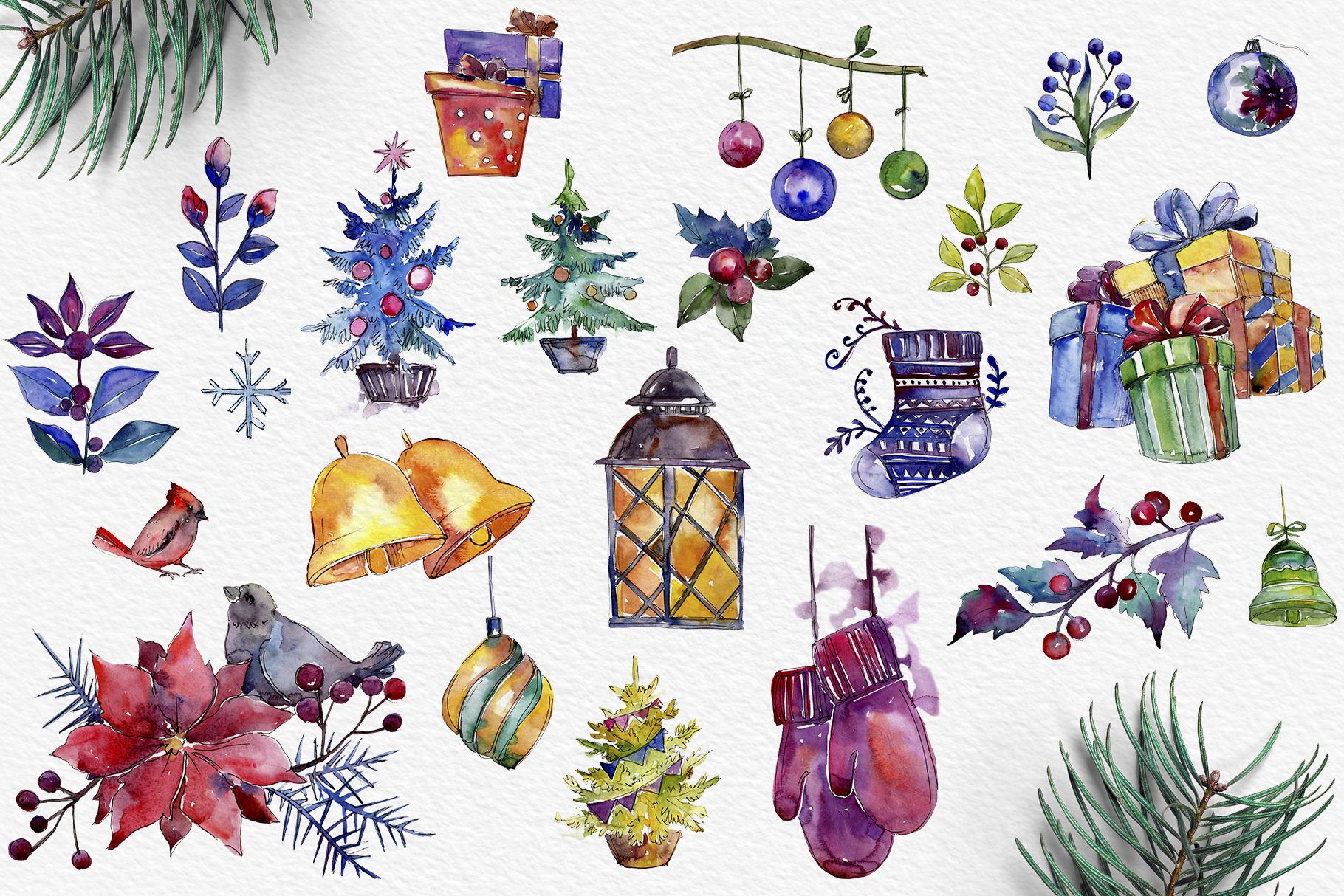 Set of illustrations Christmas miracle watercolor png example image 2