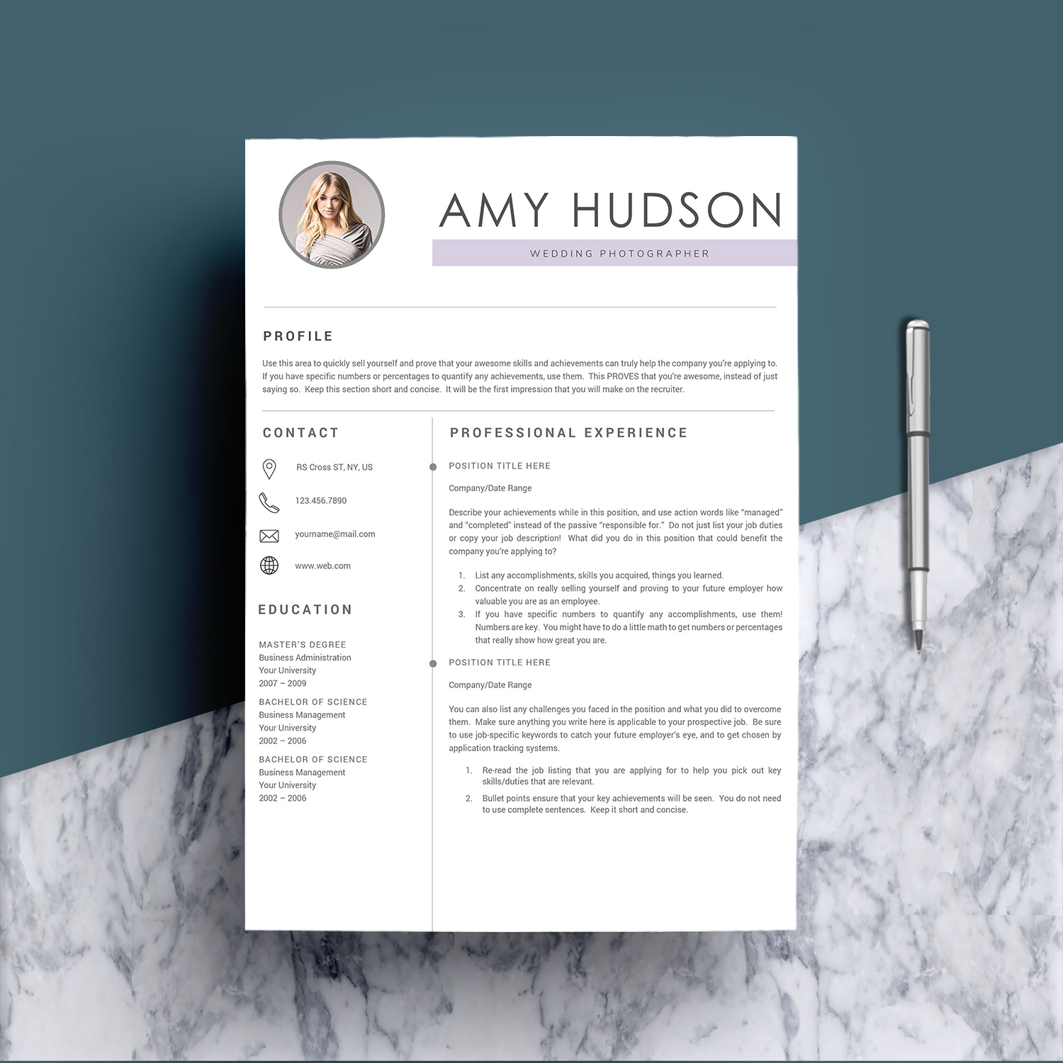Professional Resume Template word example image 2