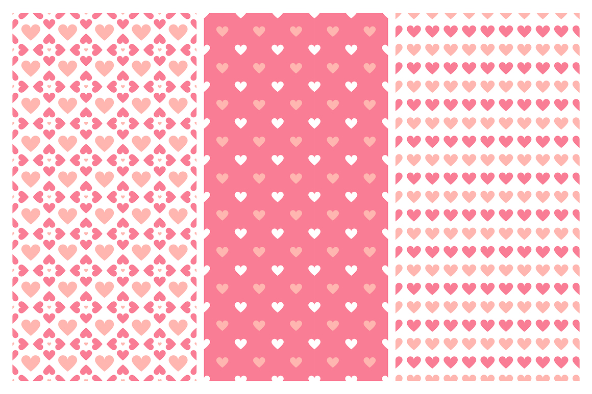 Vector seamless hearts patterns example image 5