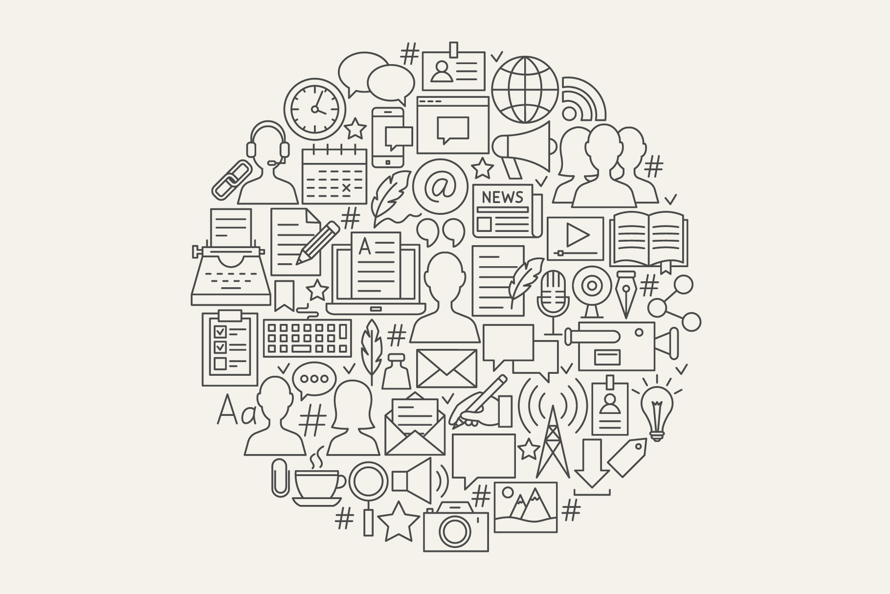 Blog Line Art Icons example image 4
