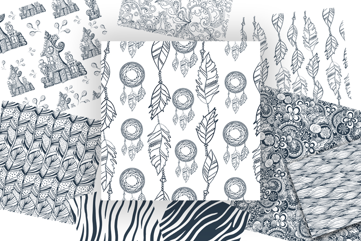 17 Doodle patterns for pillow design example image 3