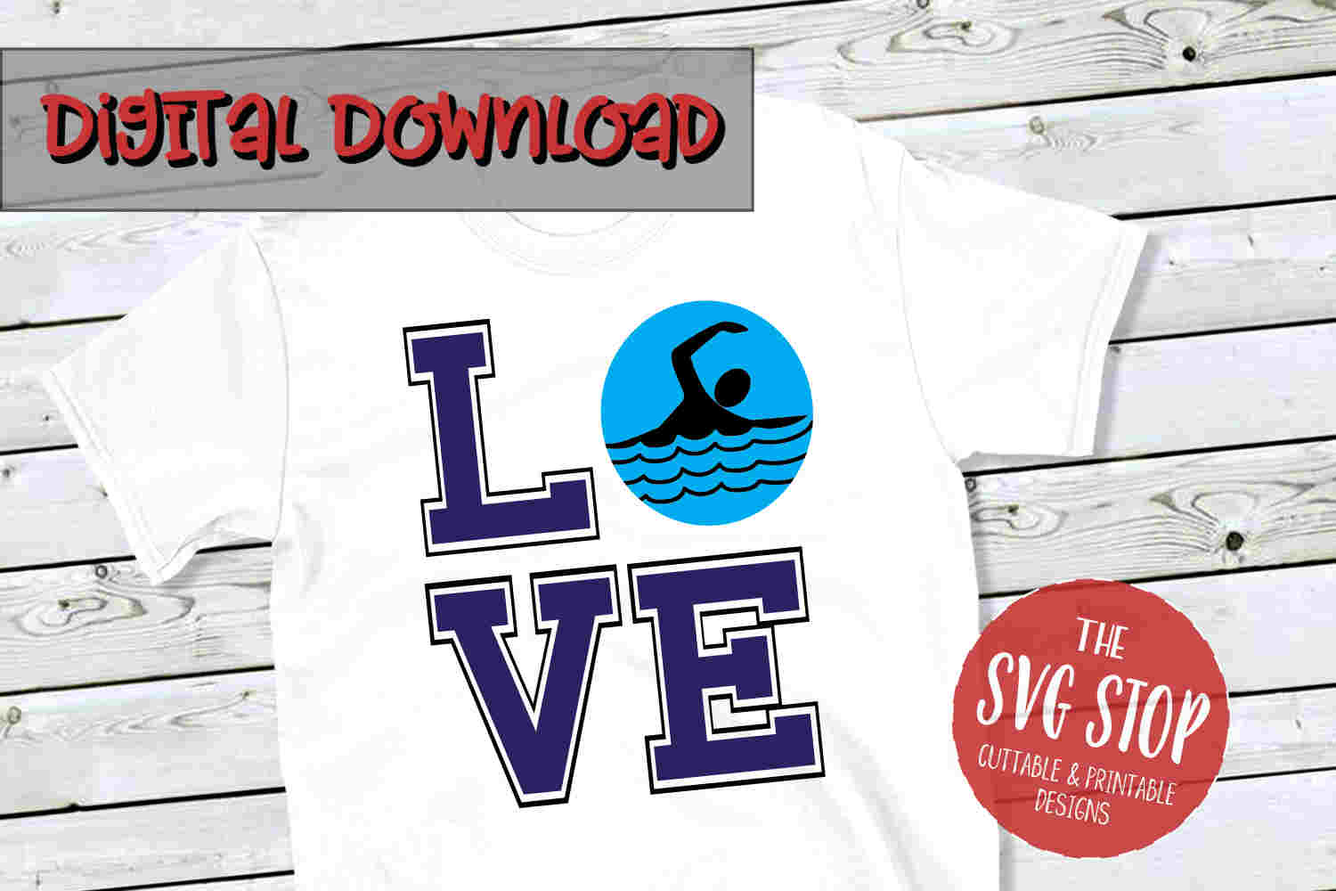 Love Swim -SVG, PNG, DXF example image 1