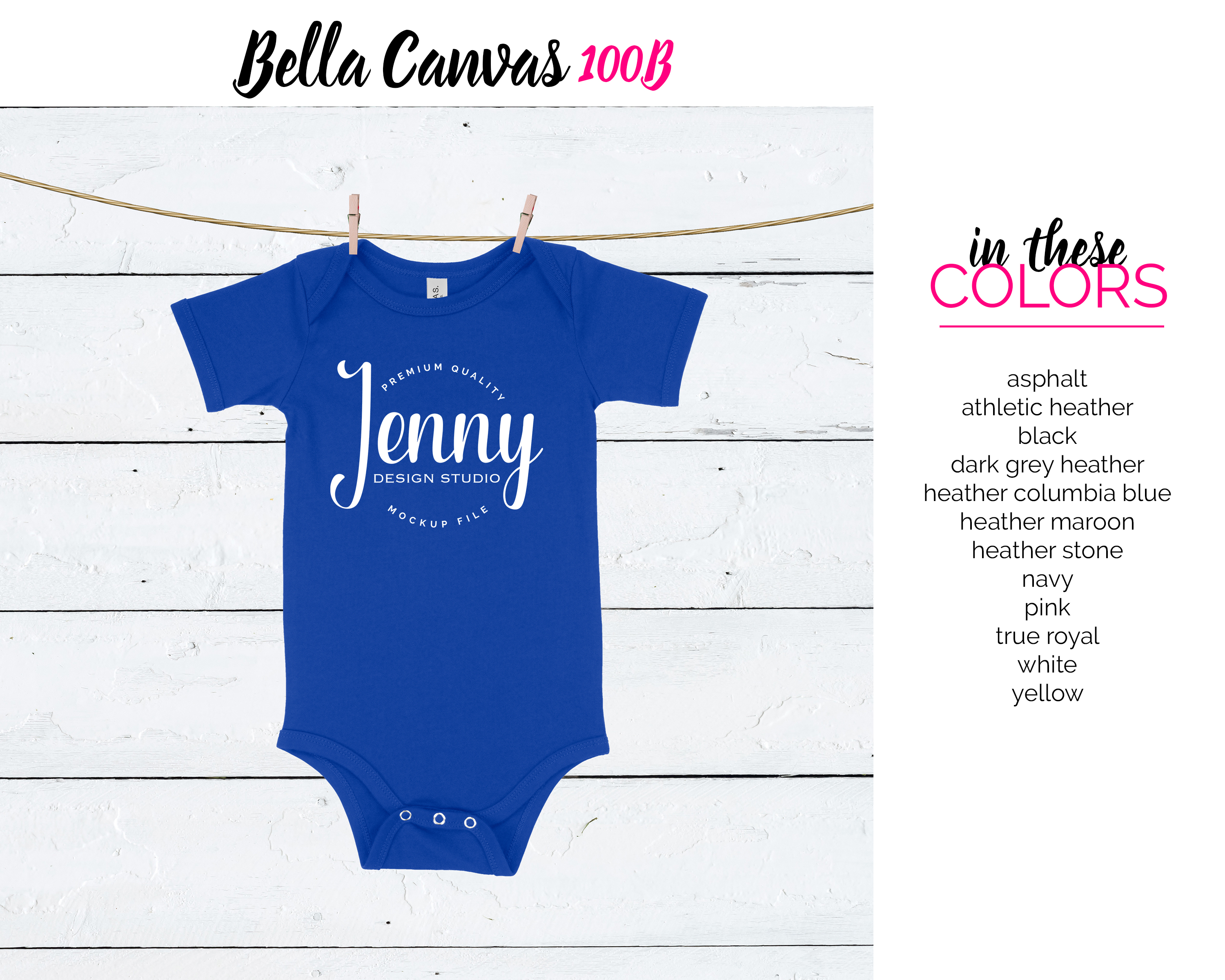 Bella Canvas 100B Unisex Bodysuit Mockup Bundle example image 4