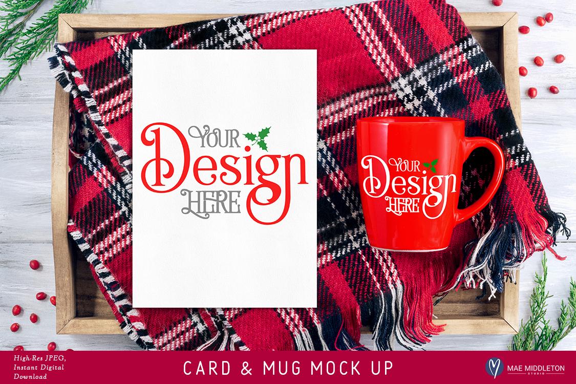 Card, red mug mock up for Christmas example image 1