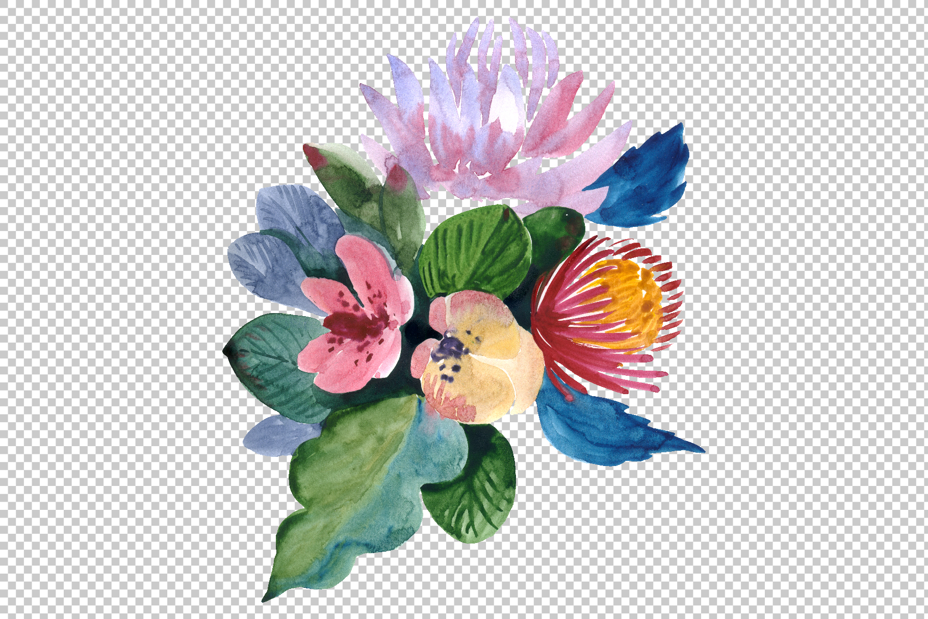 Bouquets with wildflowers, Roses, leaves Watercolor png example image 2