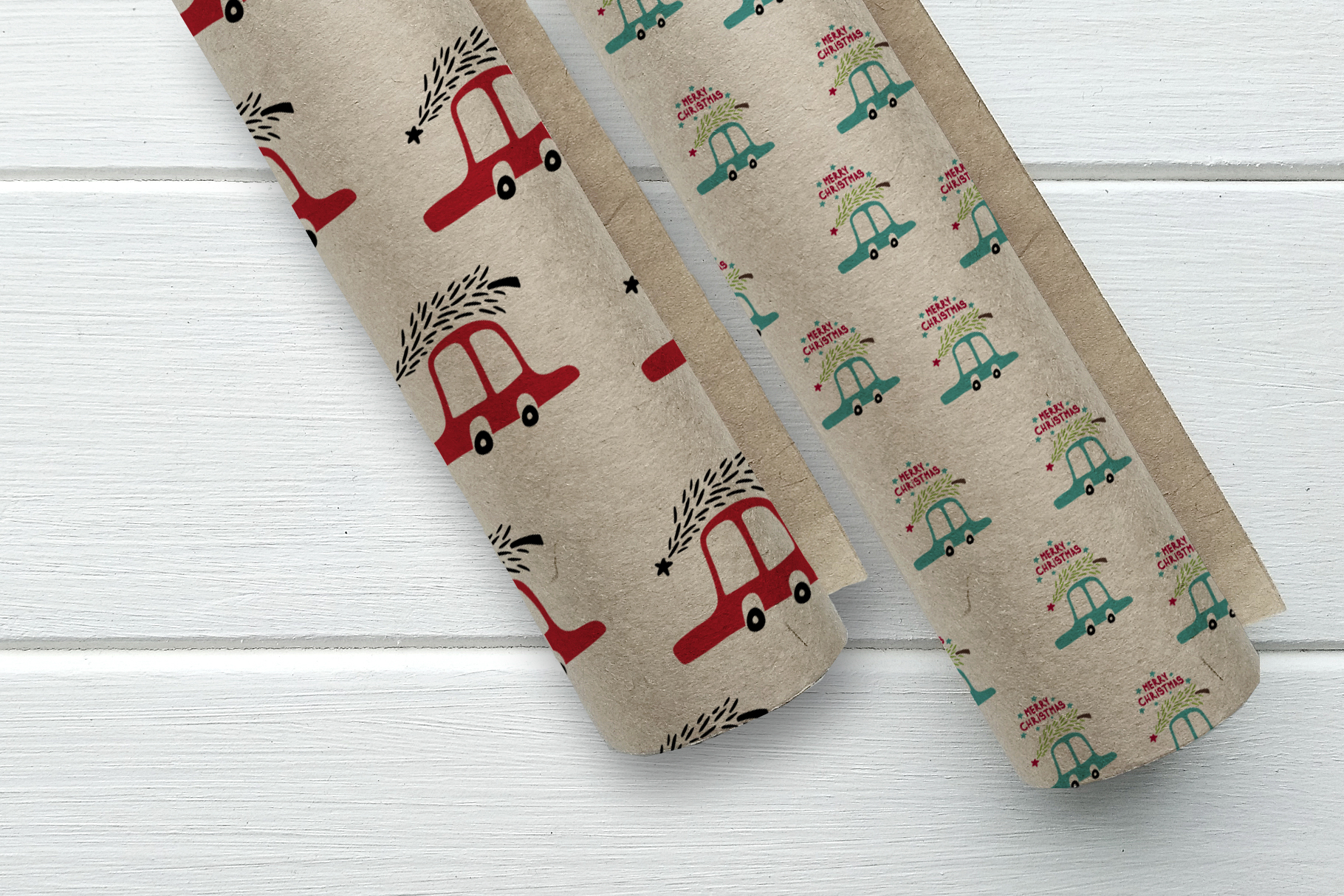 Cute cartoon cars pattern. Merry Cristmas pattern. example image 1