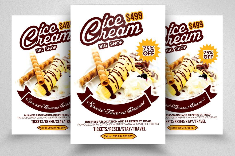 10 Ice Cream Discount Flyer Template Bundle example image 8