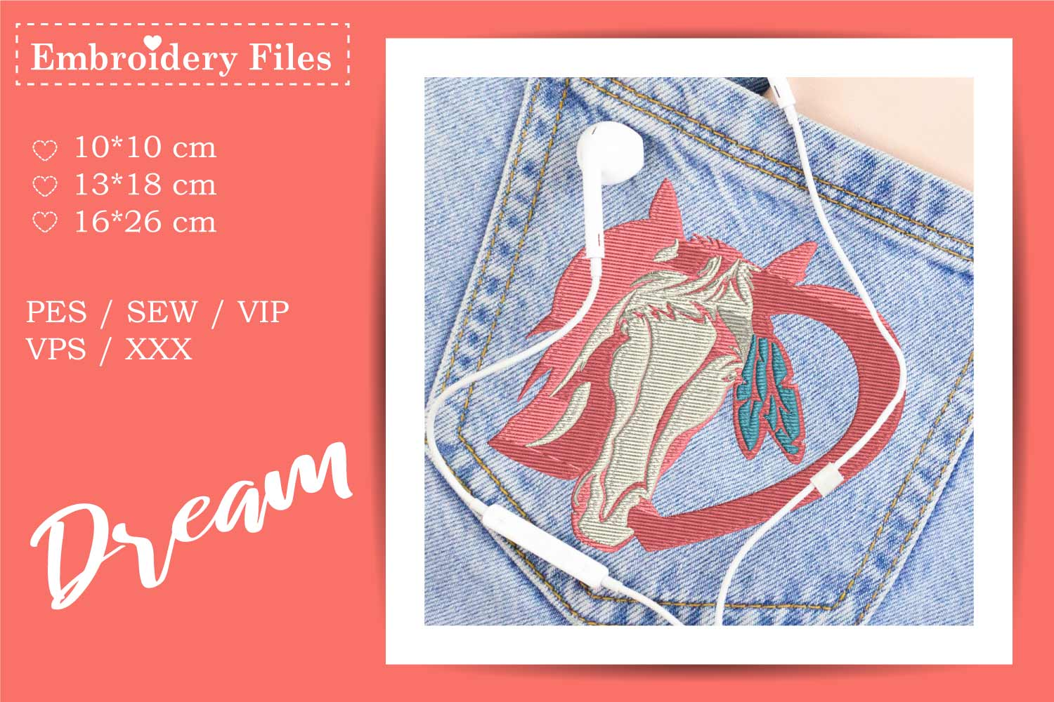 Horse in a Heart - Embroidery File for Beginners example image 2