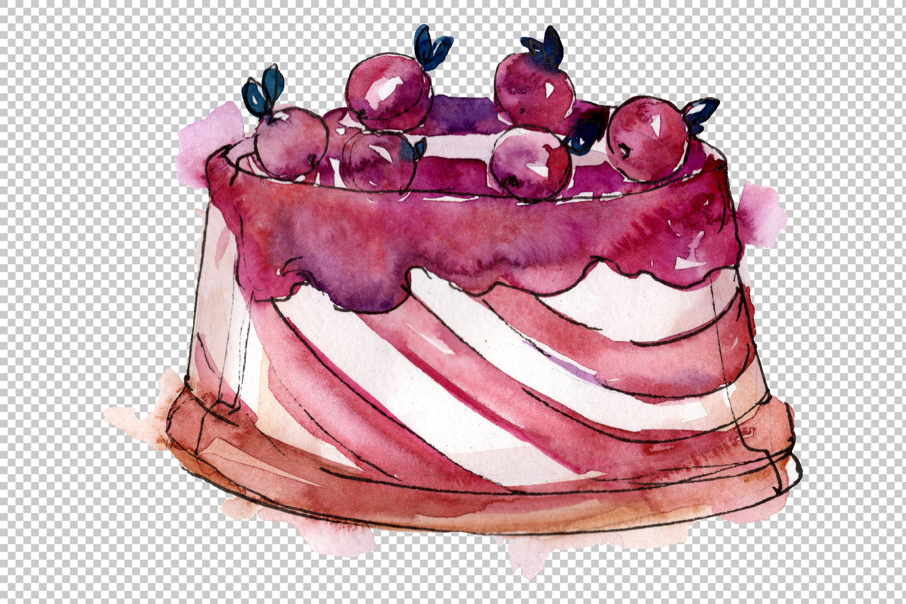 Spring dessert Watercolor png example image 2