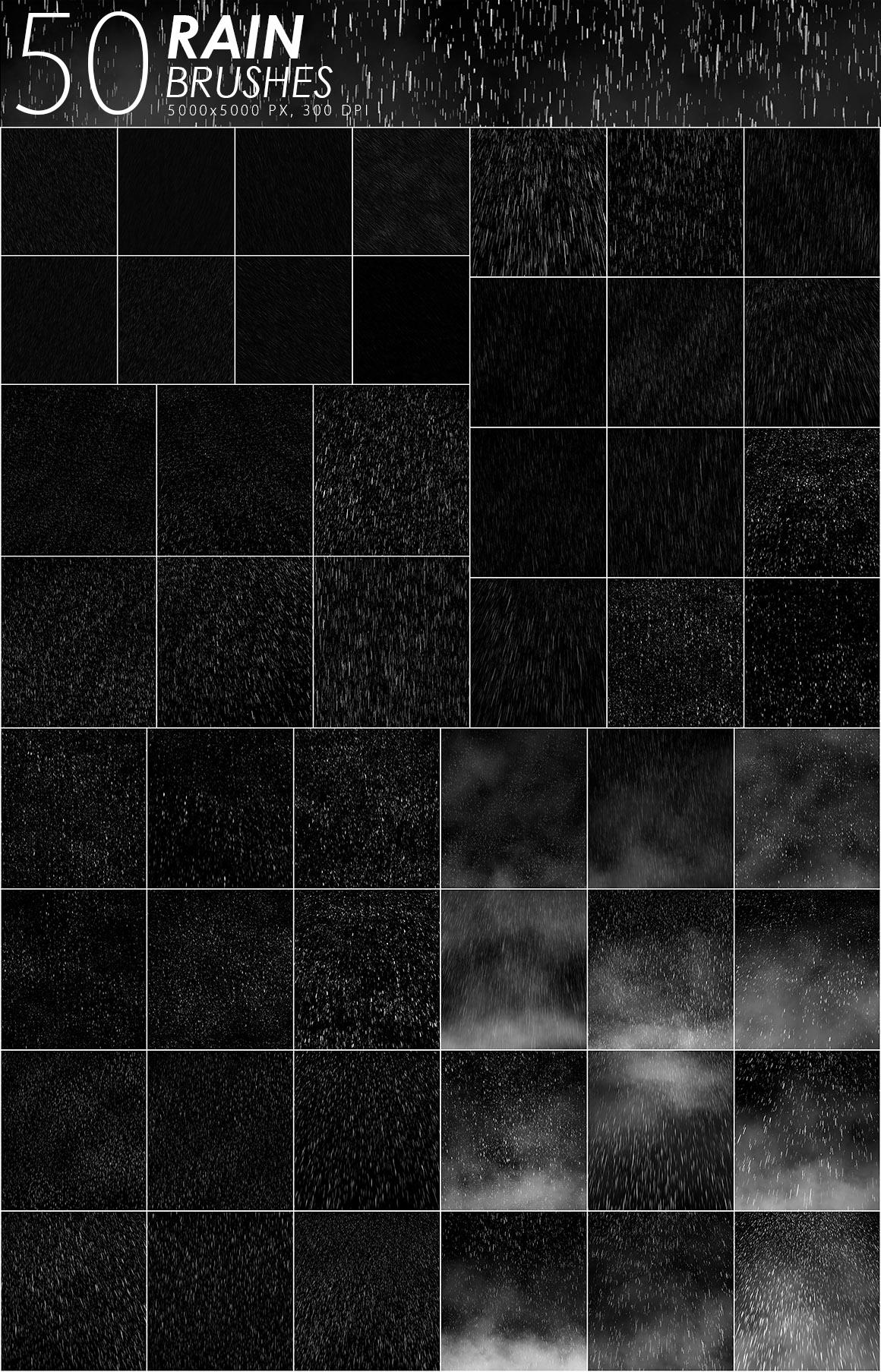 50 Rain Photoshop Brushes example image 2