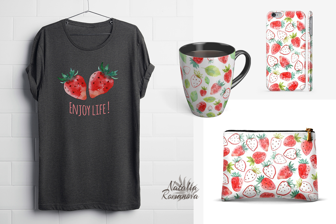 Strawberry watercolor design example image 4