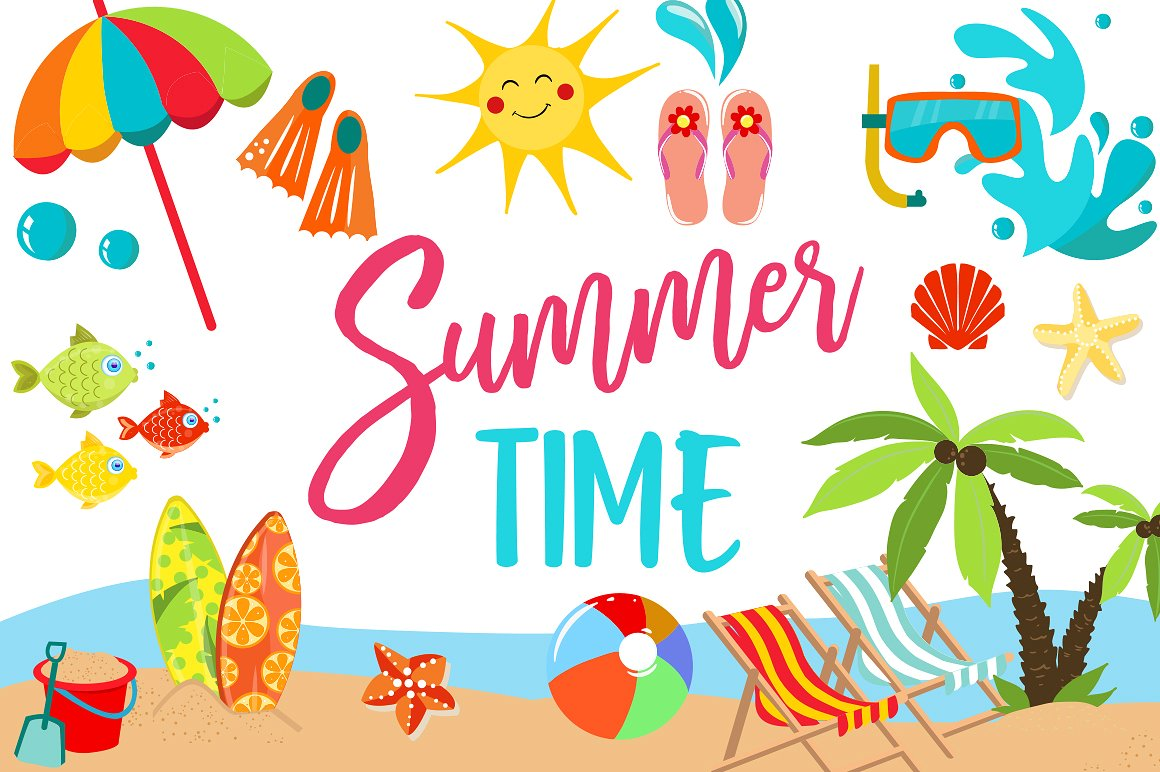 Summer Clipart Bundle - 126 cliparts (24191) | Illustrations ...