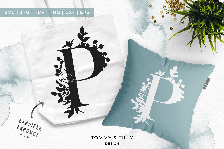 P Bouquet Letter Design - Paper Cut SVG EPS DXF PNG PDF JPG example image 3