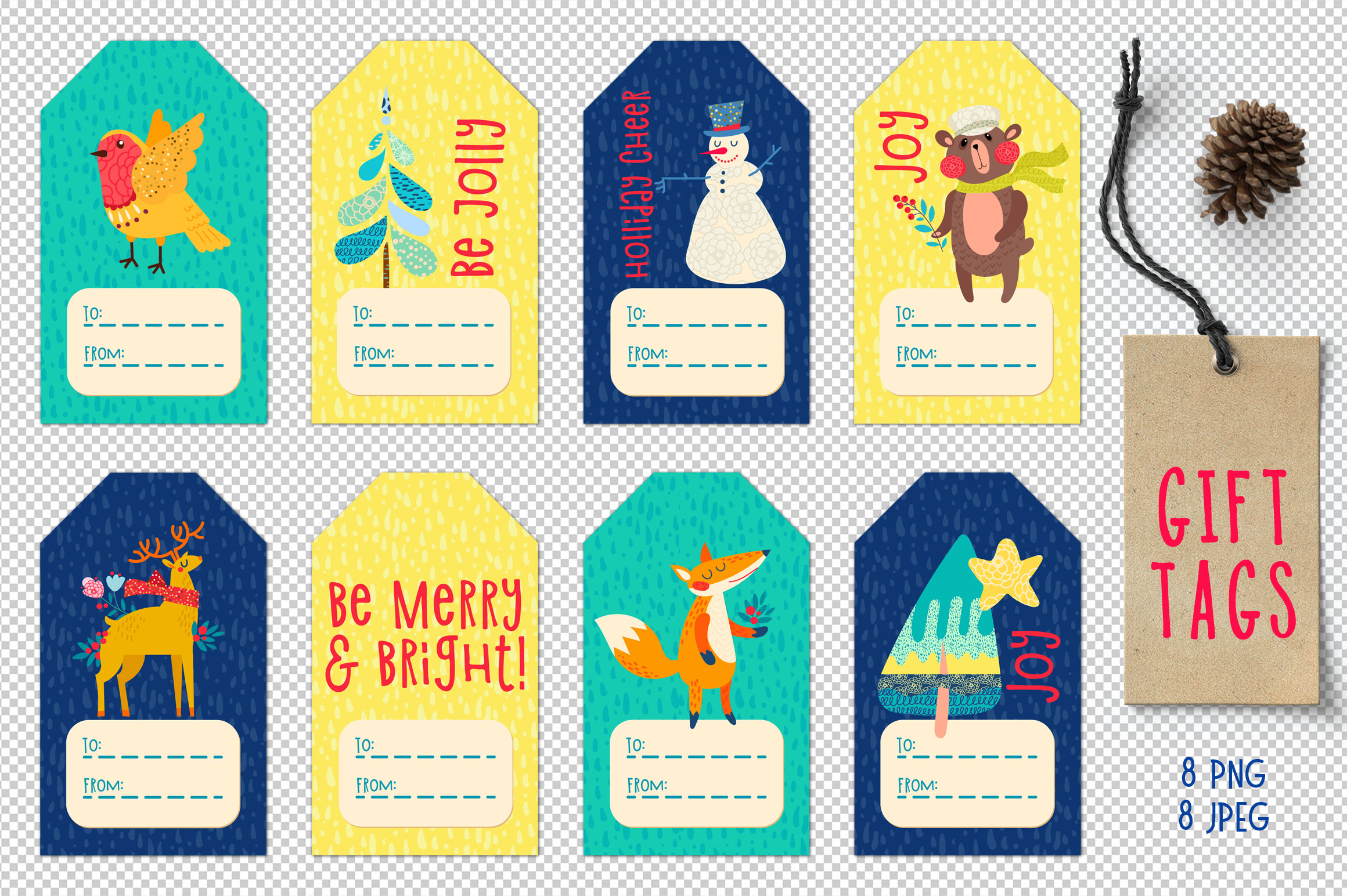 Christmas Gift Tag, cupcakes toppers example image 2