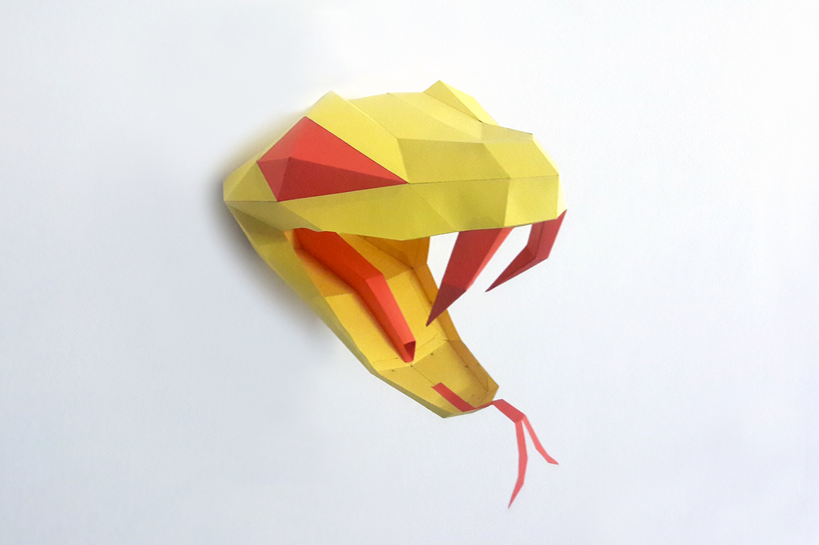 DIY Snake head Trophy - 3d papercraft example image 3