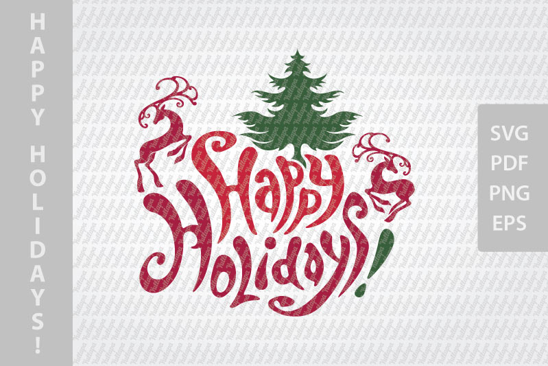 Happy Holidays SVG lettering, New Year festive design example image 2