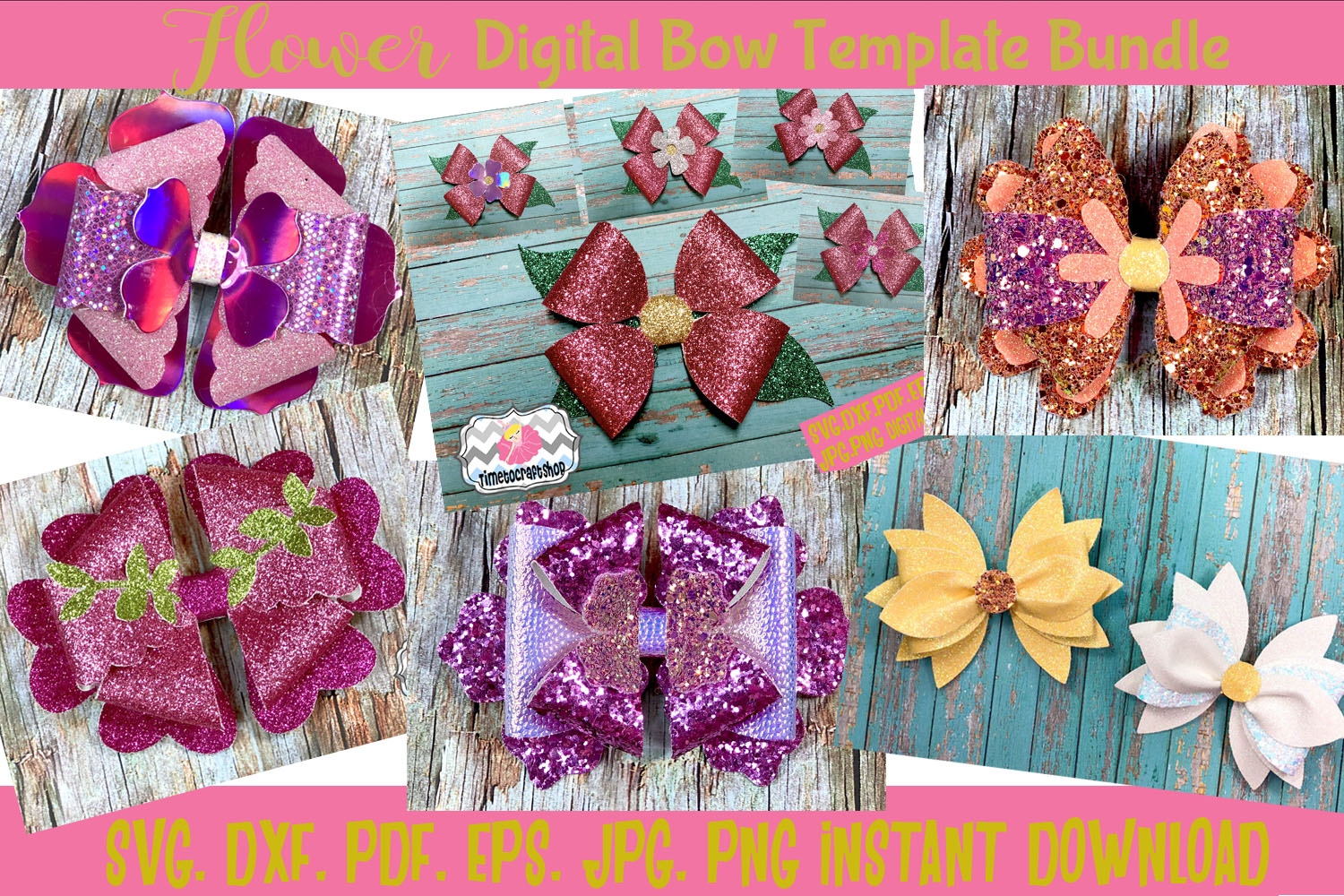 SVG, PNG, DXF, PDF, JPEG Flower Hair Bow Template Bundle example image 1