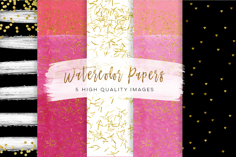 Black And Pink Gold Paper Sbook Hot Glitter