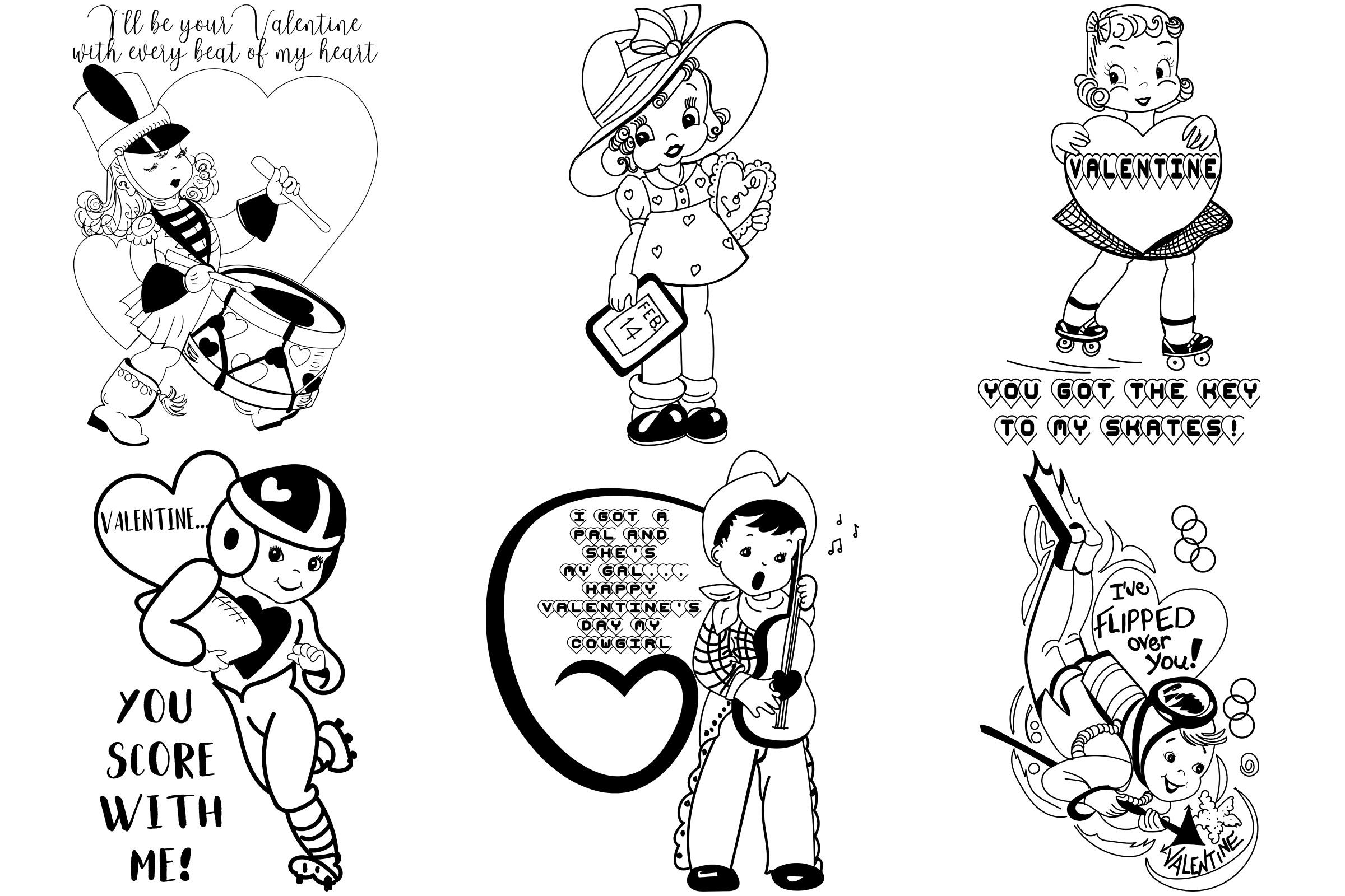 Mid Century Retro/Vintage Valentines AI EPS PNG example image 3