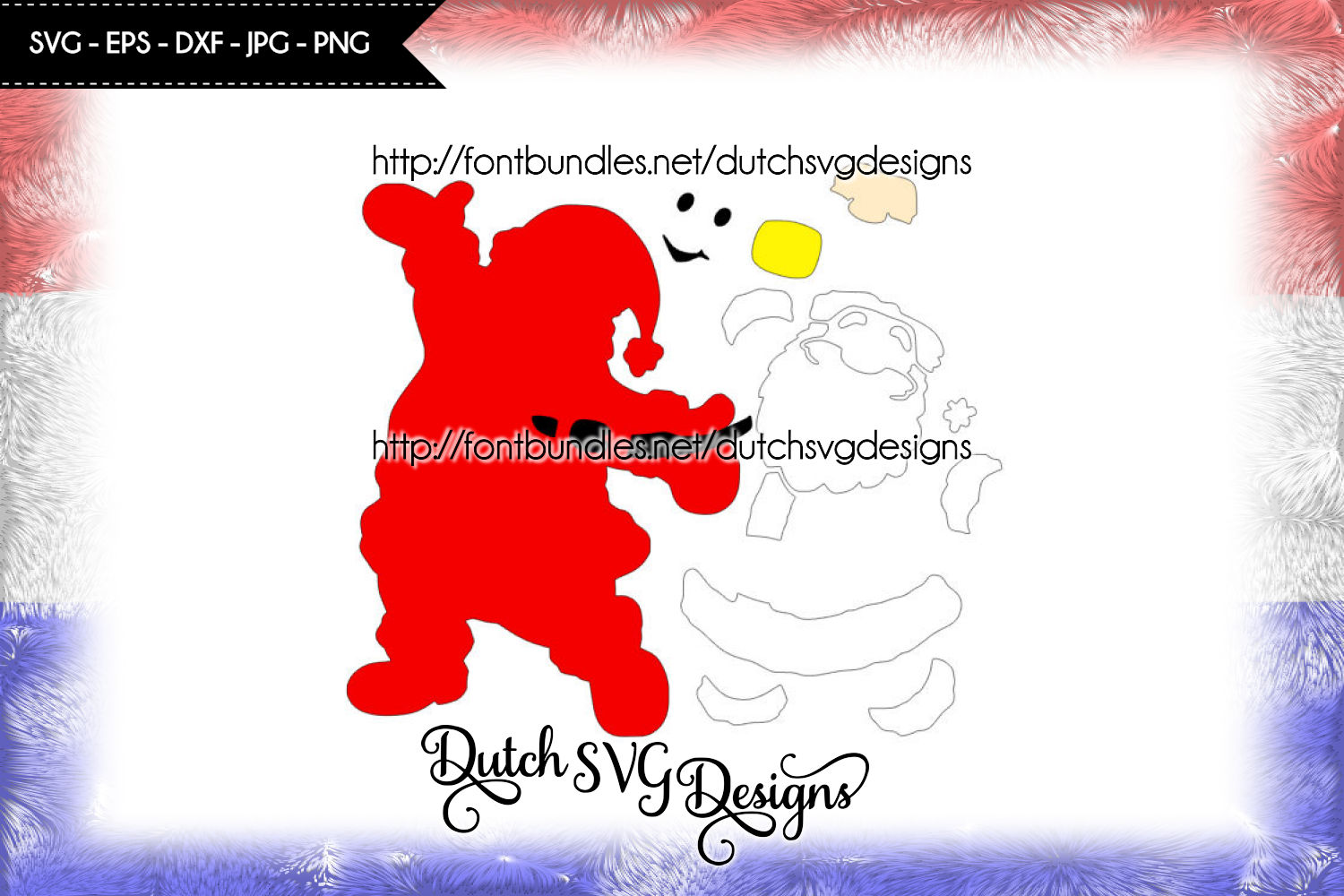 Santa Claus cutting file and/or printable, in Jpg Png SVG EPS DXF, for Cricut & Silhouette, christmas svg, santa svg, santa cut file example image 2