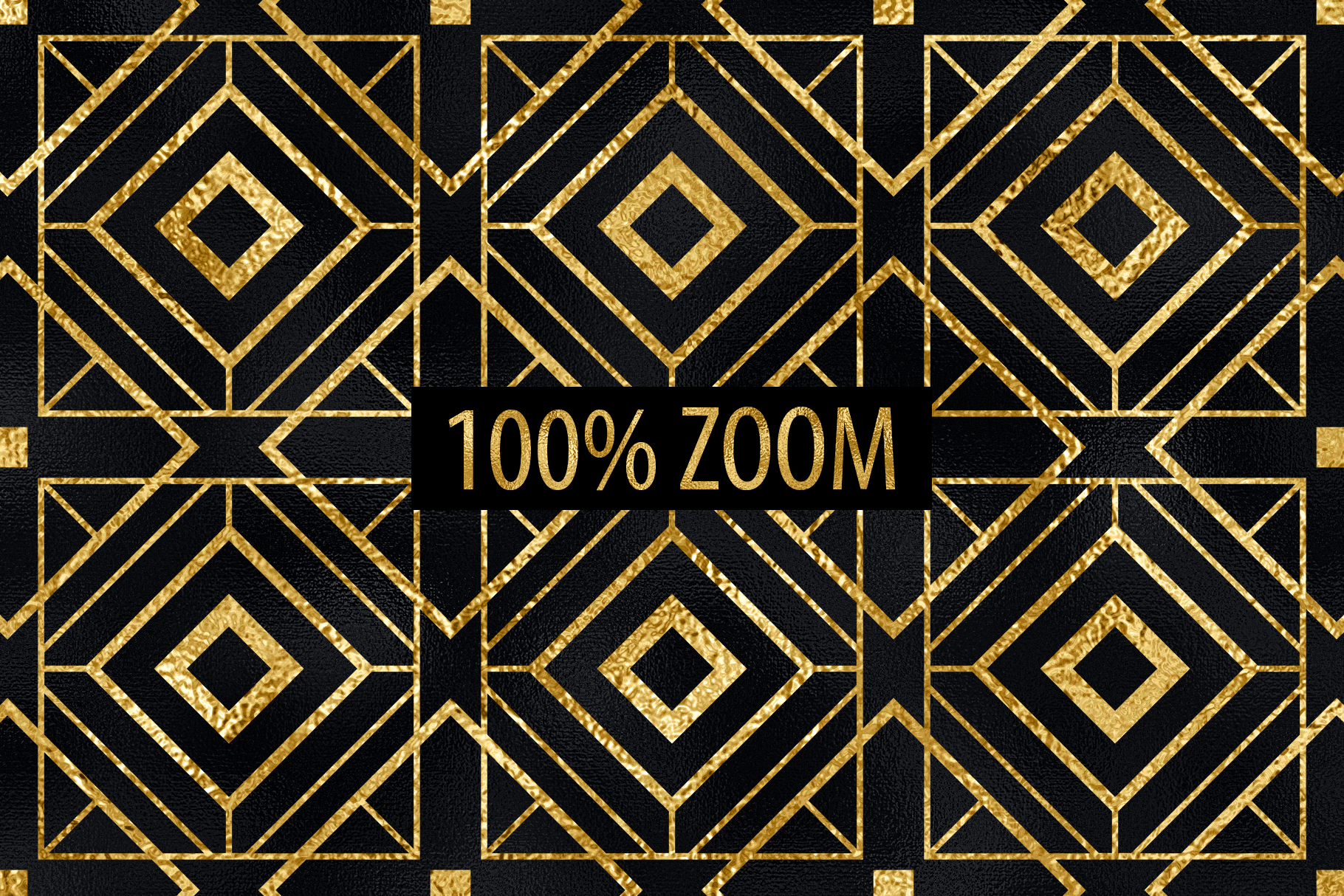 Seamless Art Deco Patterns - Black and Gold Digital Papers example image 7