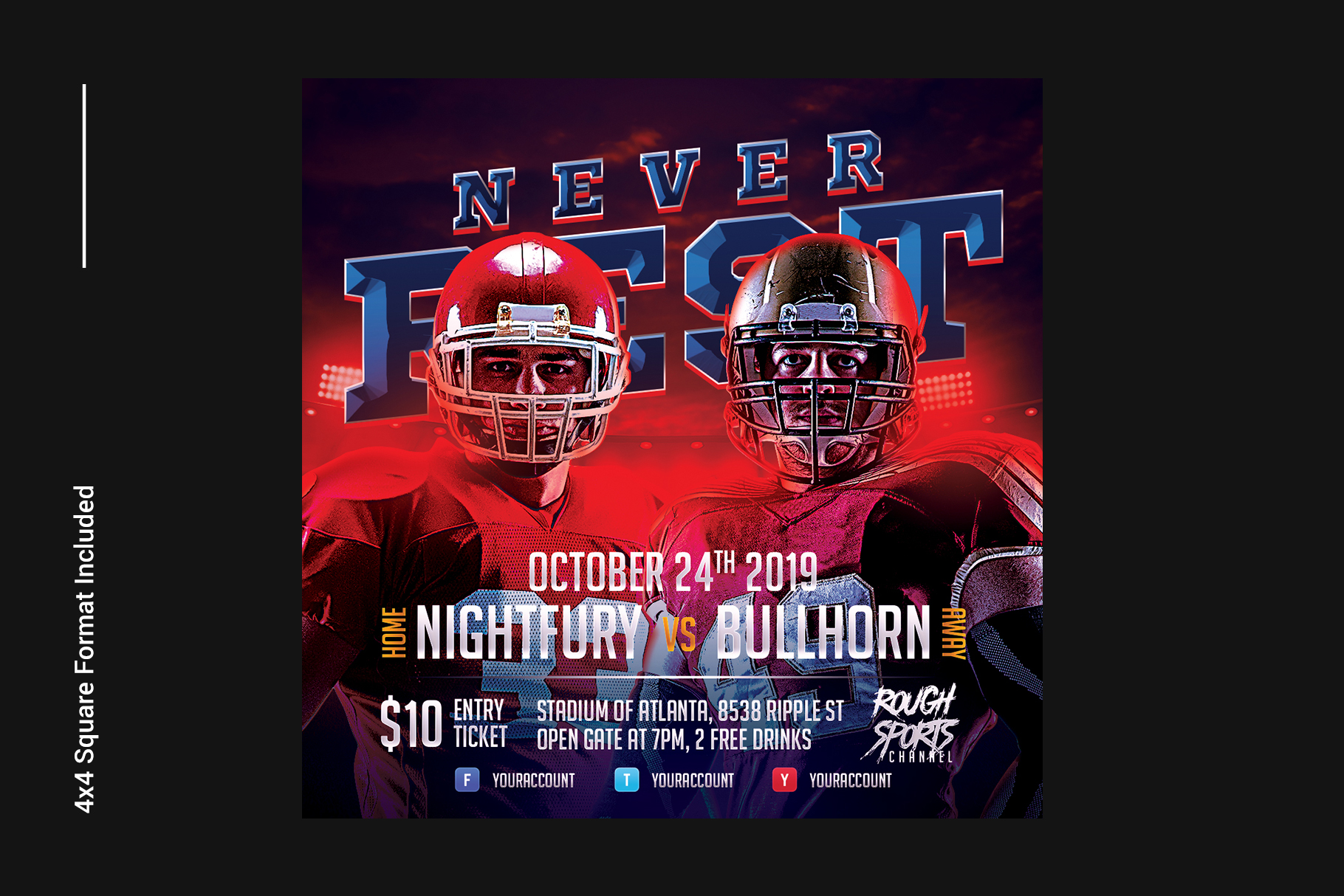 Football Game Flyer Template example image 5