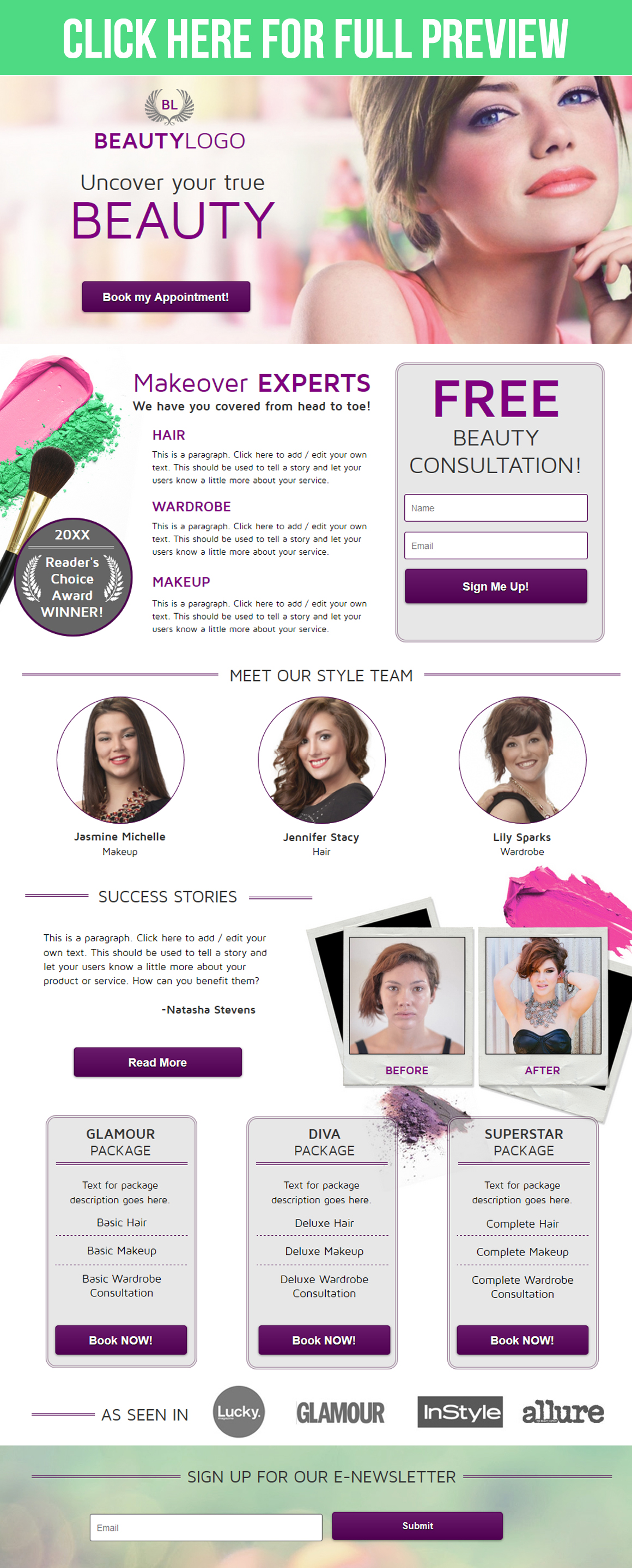 Beauty Landing Page example image 2